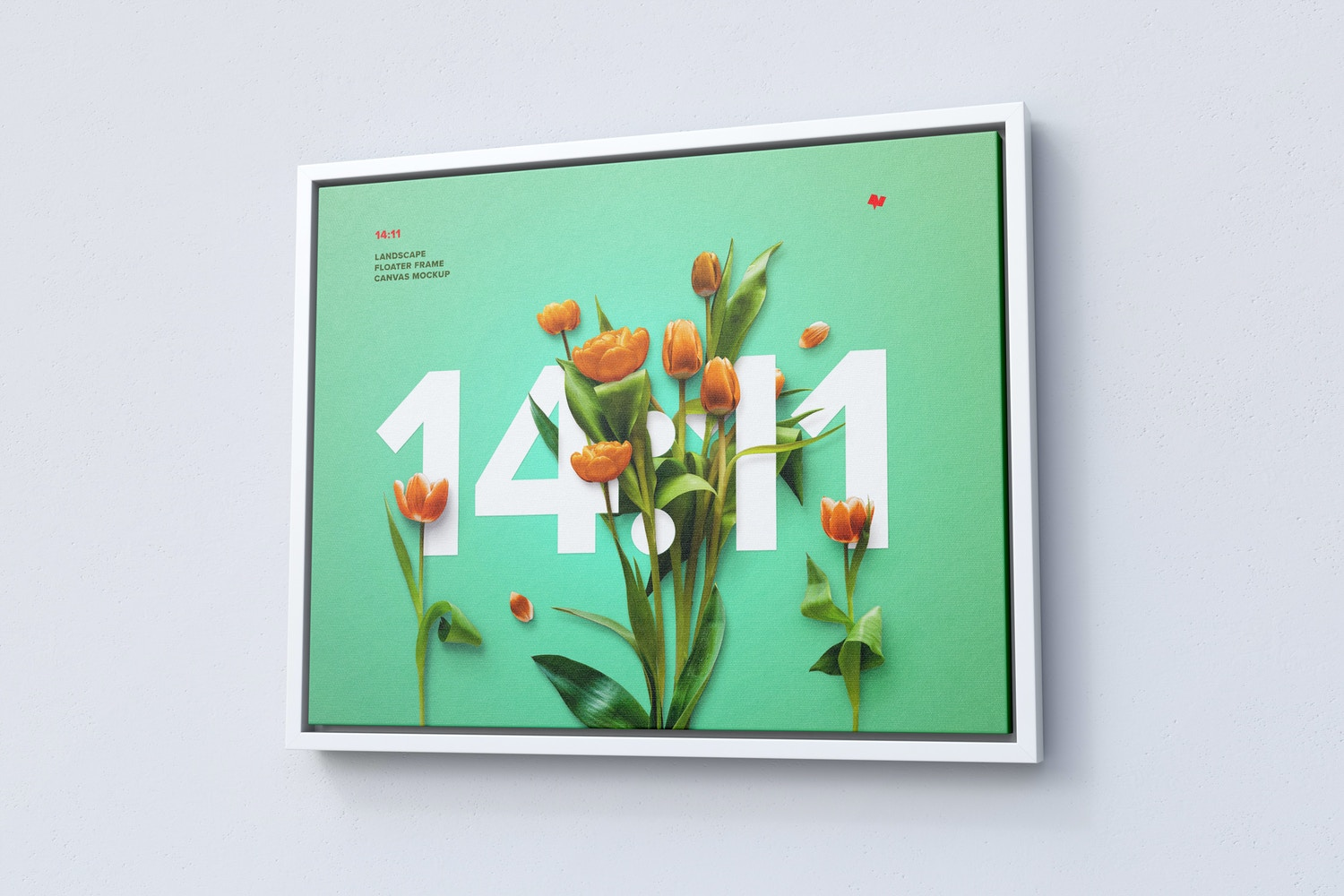 14:11 Landscape Canvas Mockup in Floater Frame, Right View