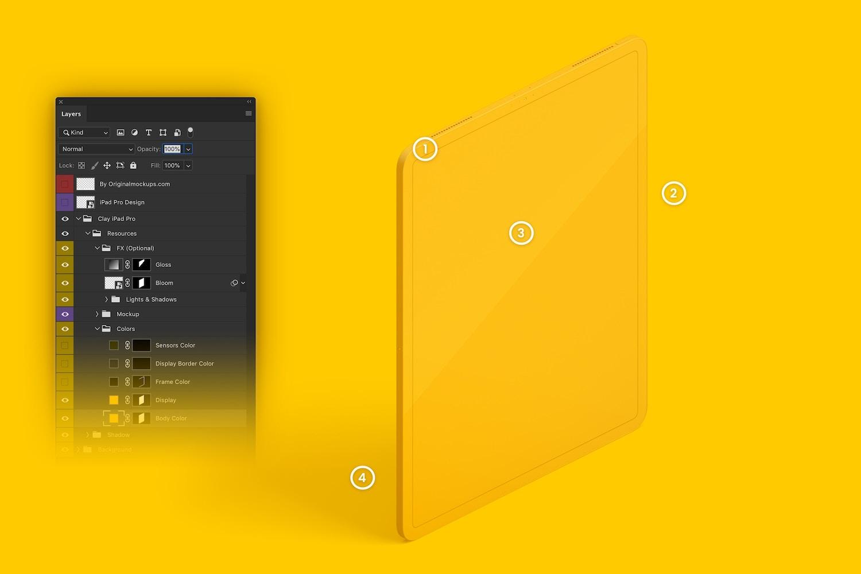 """Maqueta de iPad Pro 12.9"""" Multicolor, Vista Derecha Isométrica 02 (6) por Original Mockups en Original Mockups"""