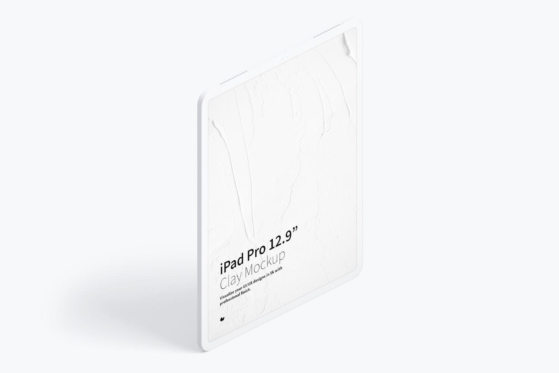 """Clay iPad Pro 12.9"""" Mockup, Isometric Right View 02"""