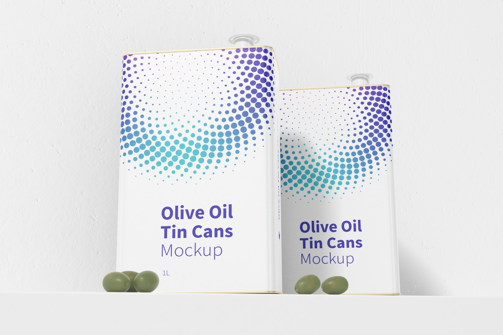 1 Liter Olive Oil Rectangular Tin Cans Mockup, Front View