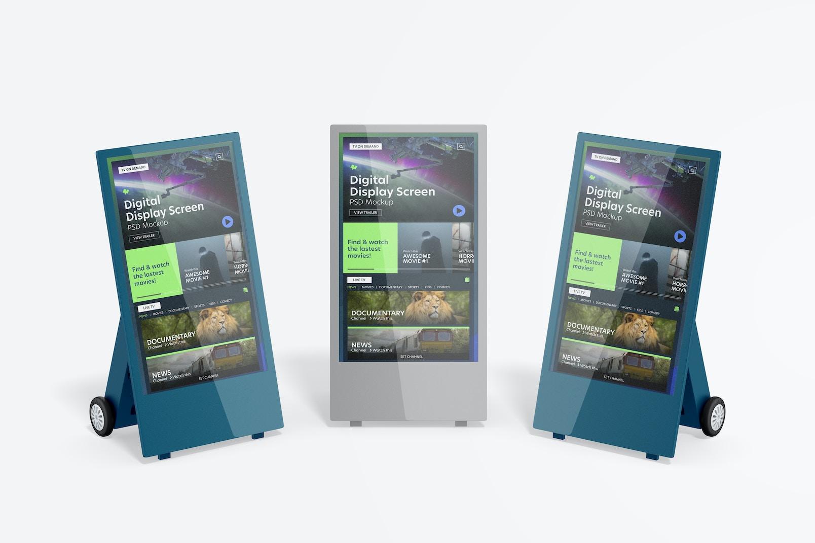 Digital Display Screen Set Mockup