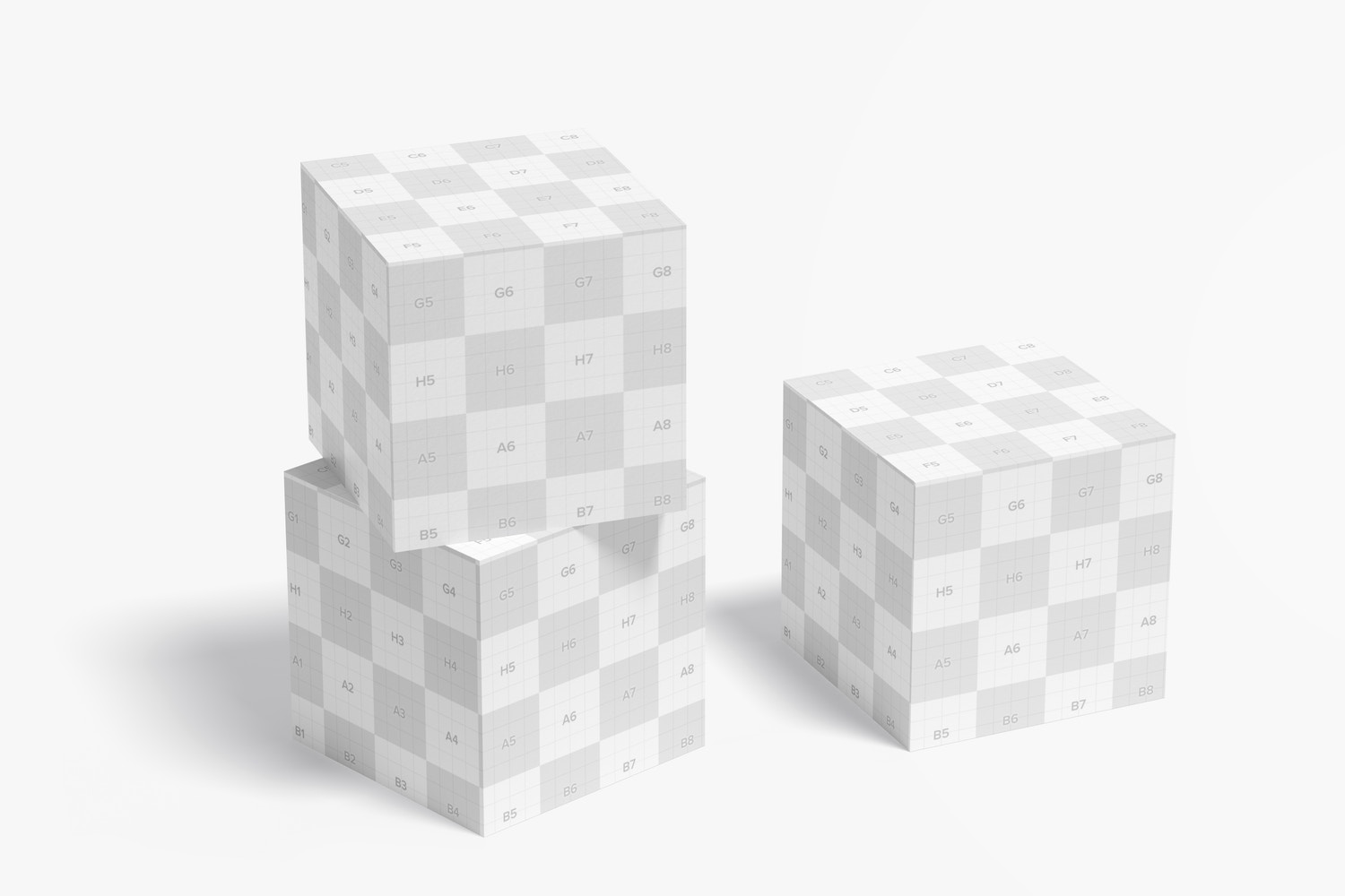 Promotional Cubes Display Mockup, Stacked