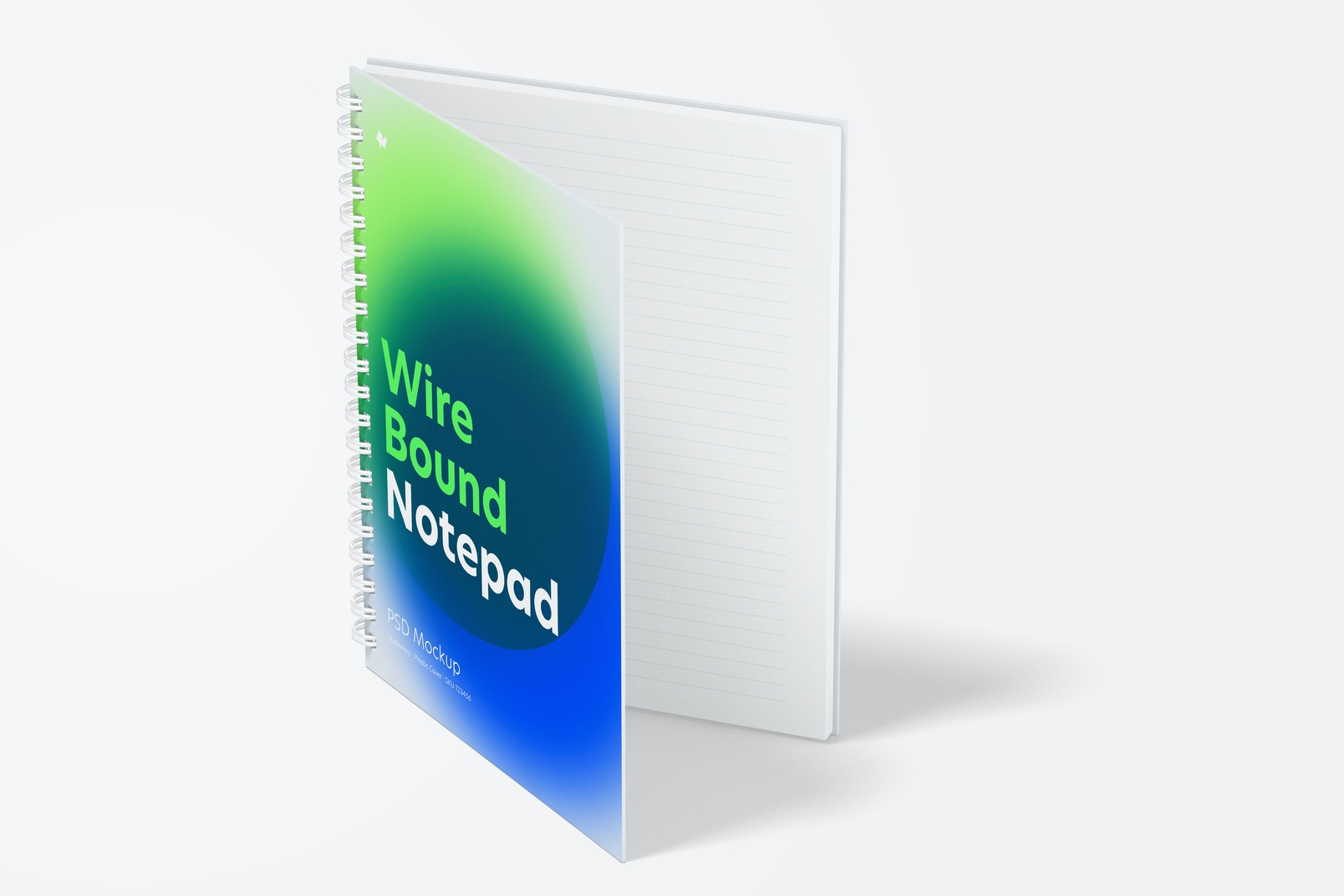 Plastic Cover Wire Bound Notepad Mockup