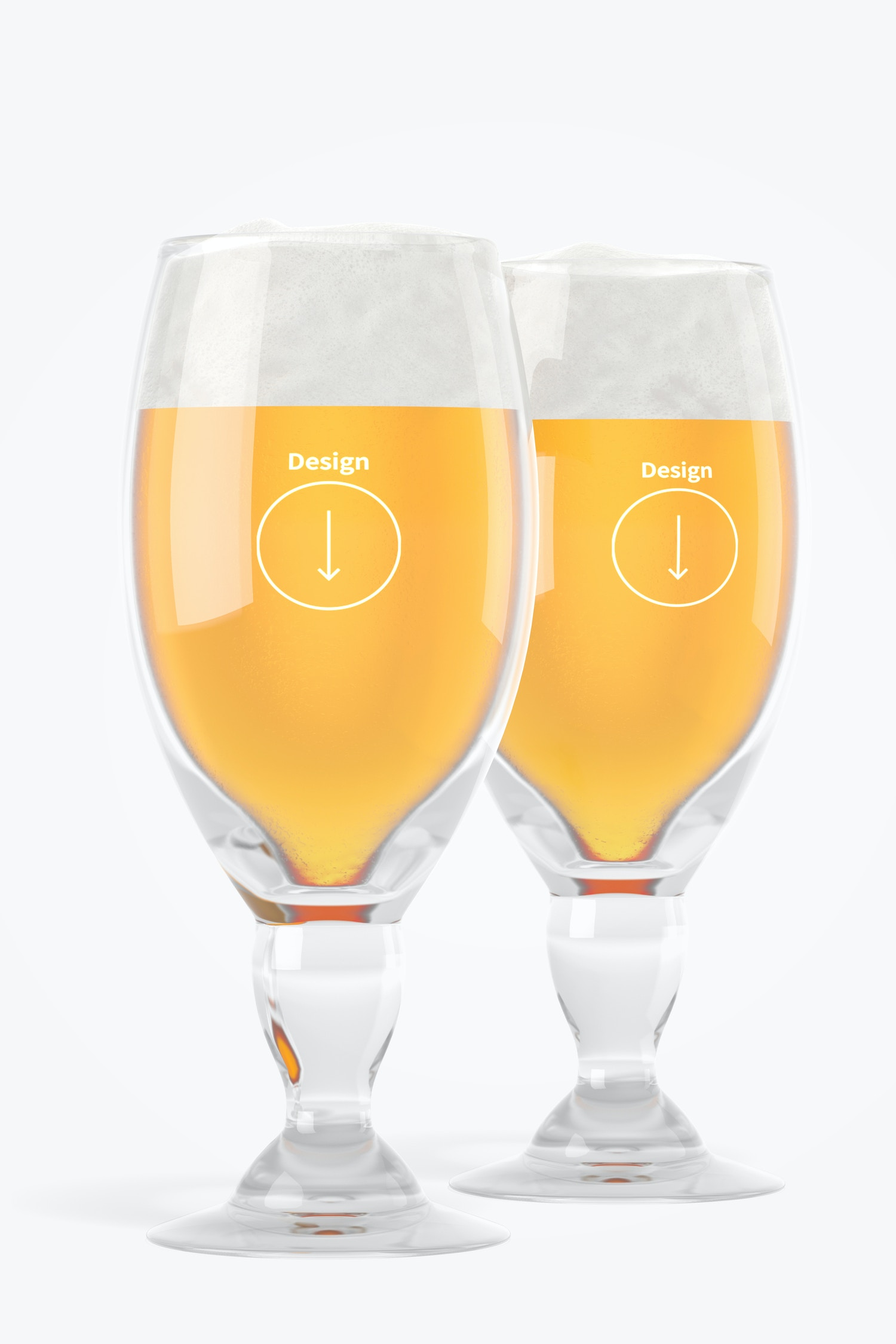Chalice Beer Glasses Mockup, Front View