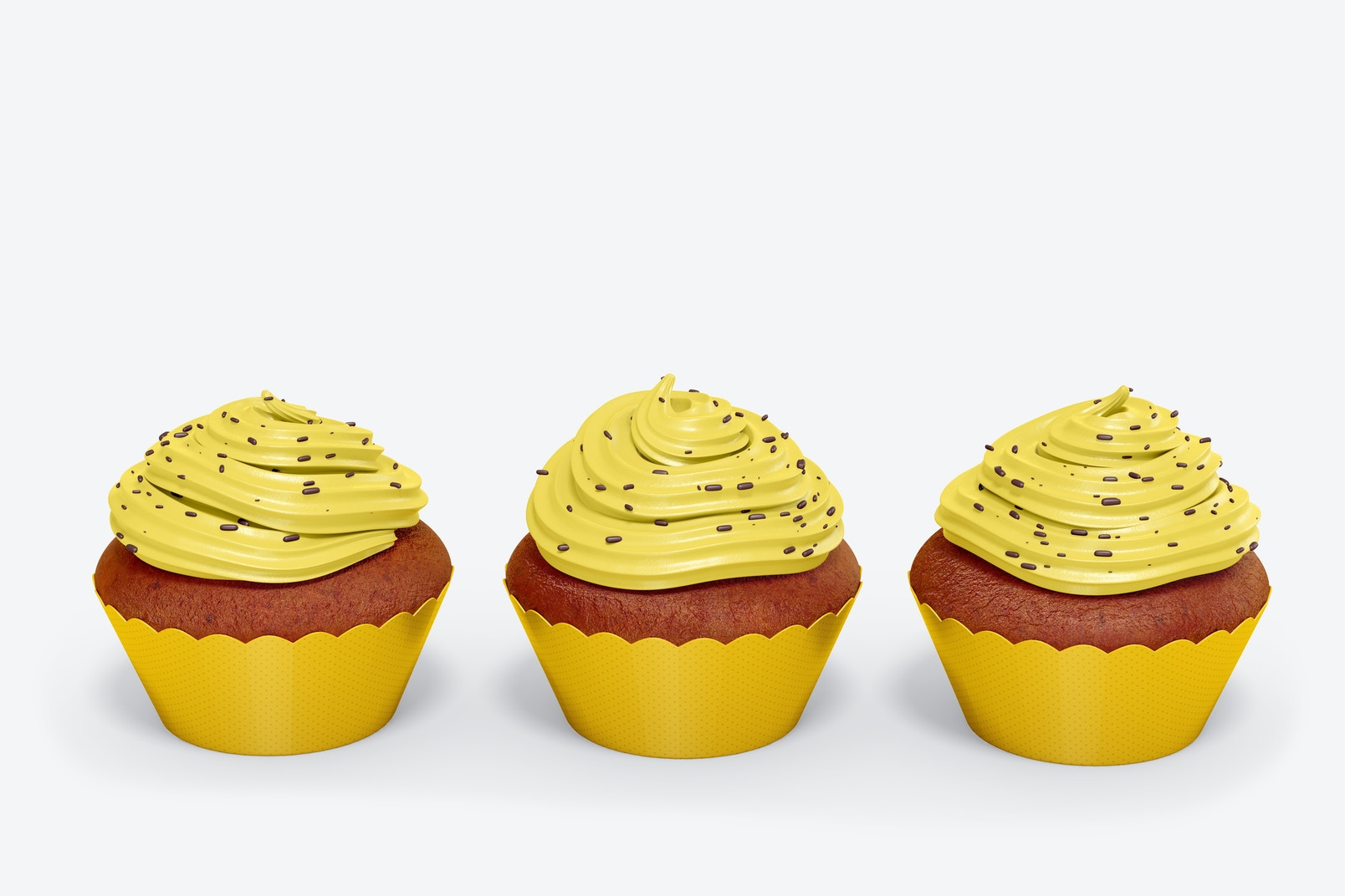 Cupcakes with Wrapper Set Mockup