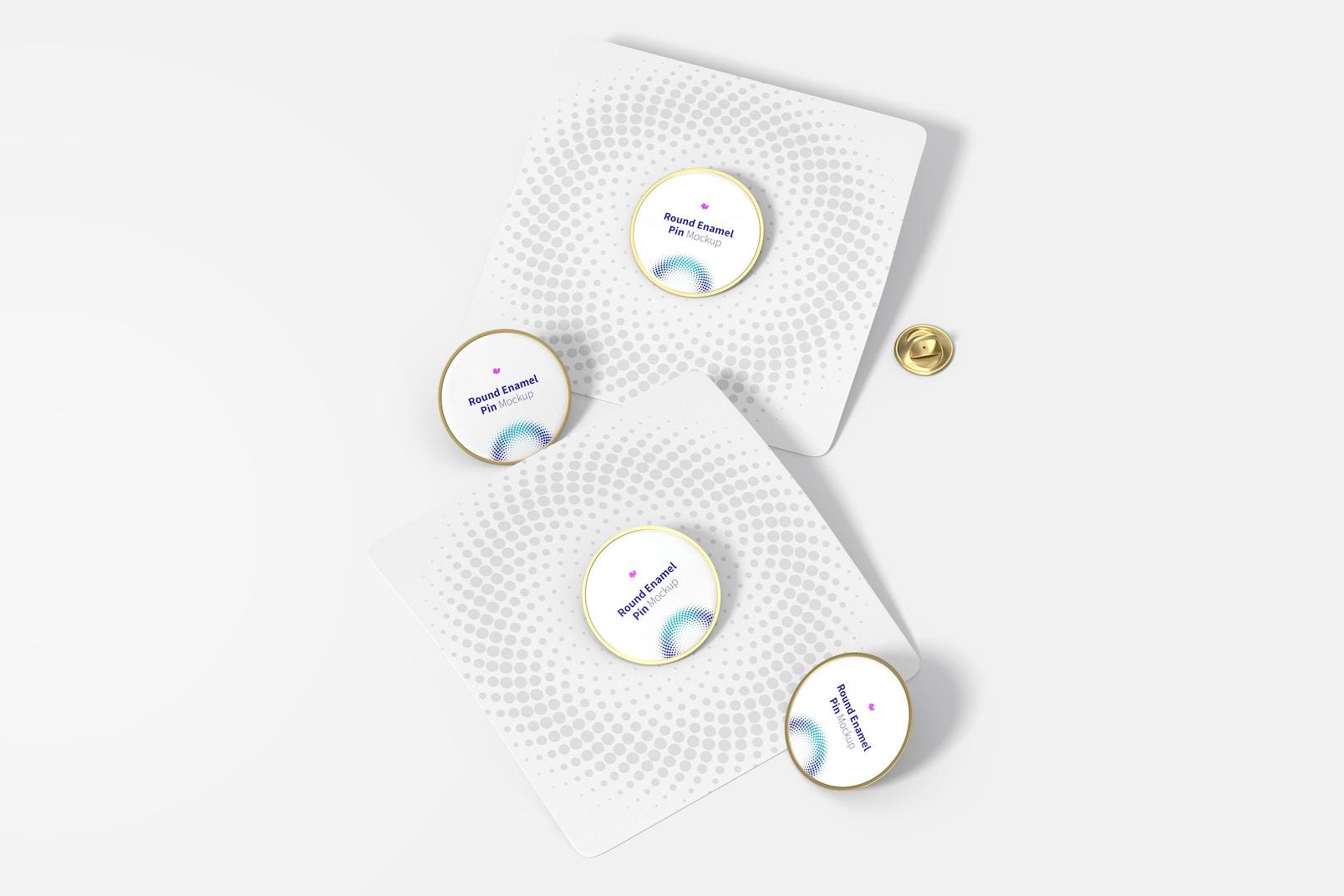 Round Enamel Pin Set Mockup