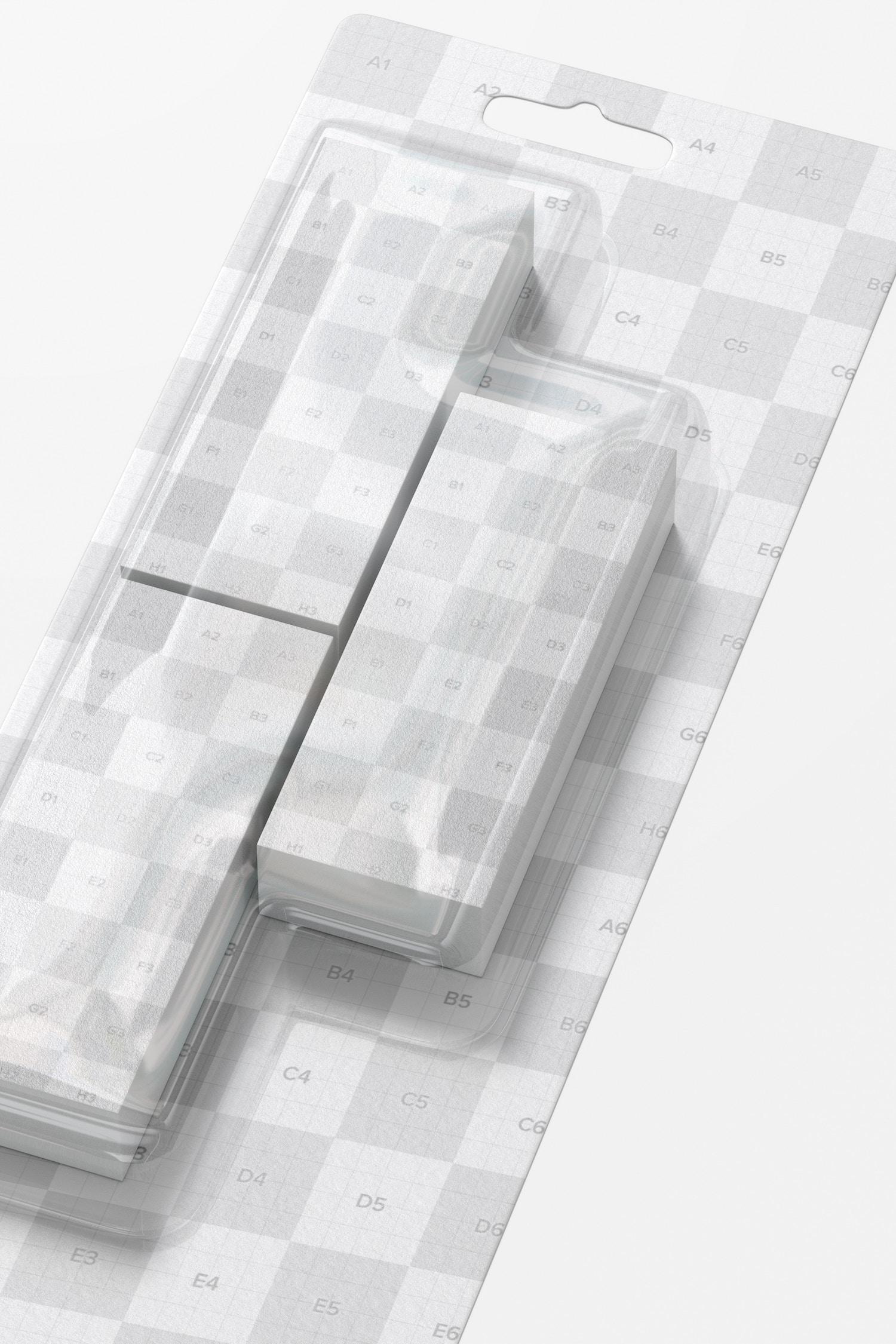 Erasers Blister Mockup, Close Up