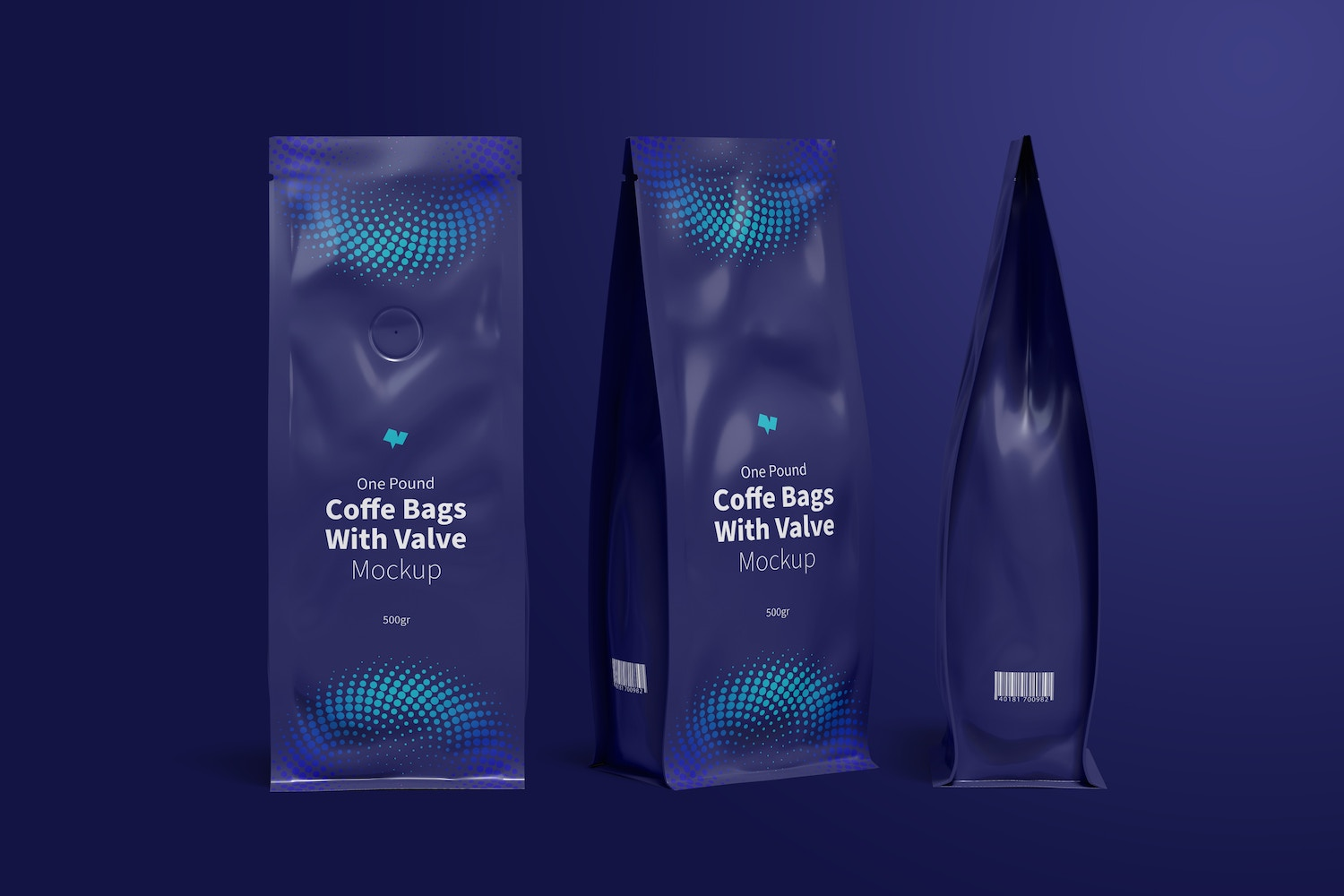 One Pound Coffee Bags with Valve Mockup, Multiple Views