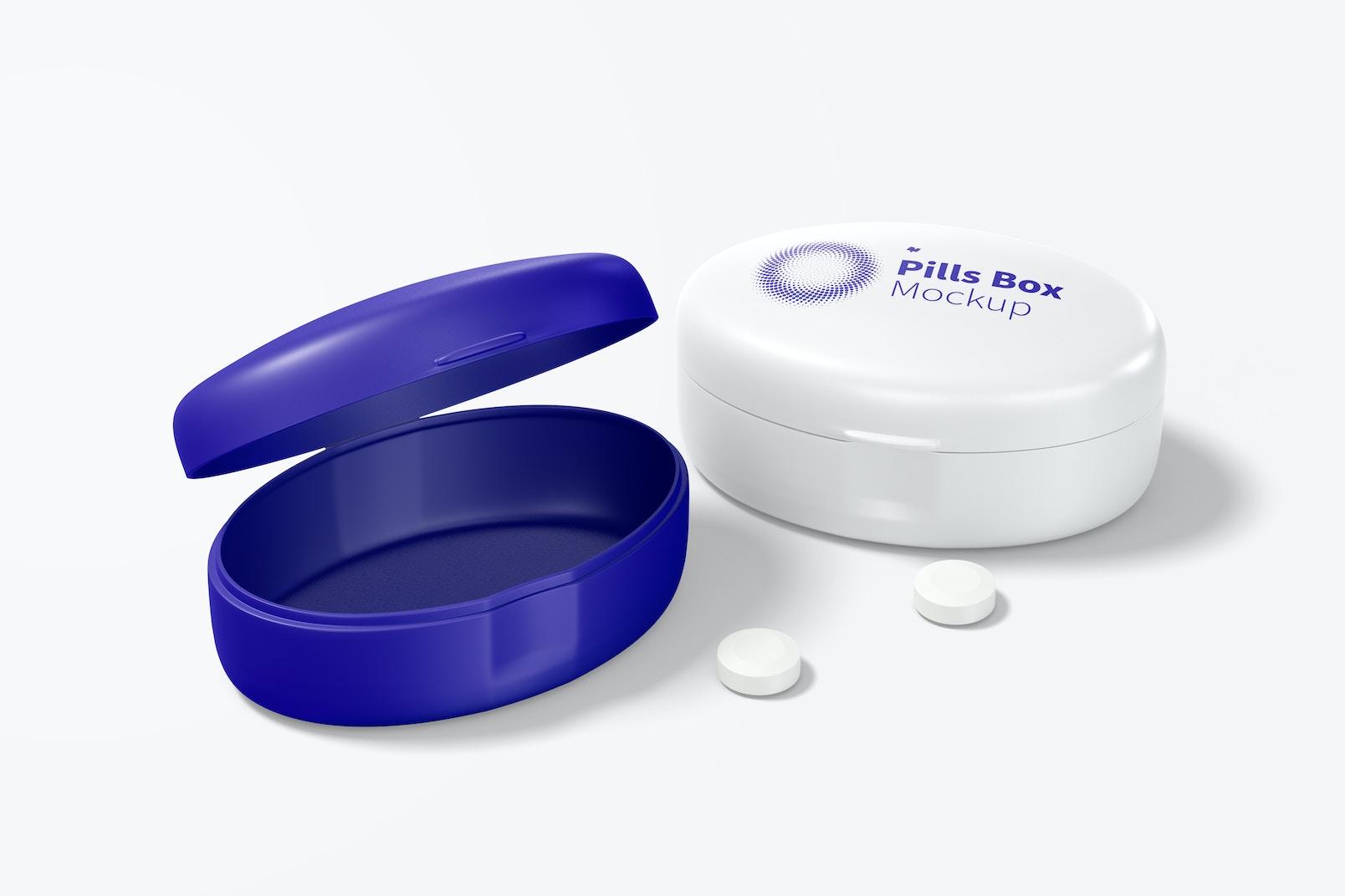 Oval Pills Box Mockup