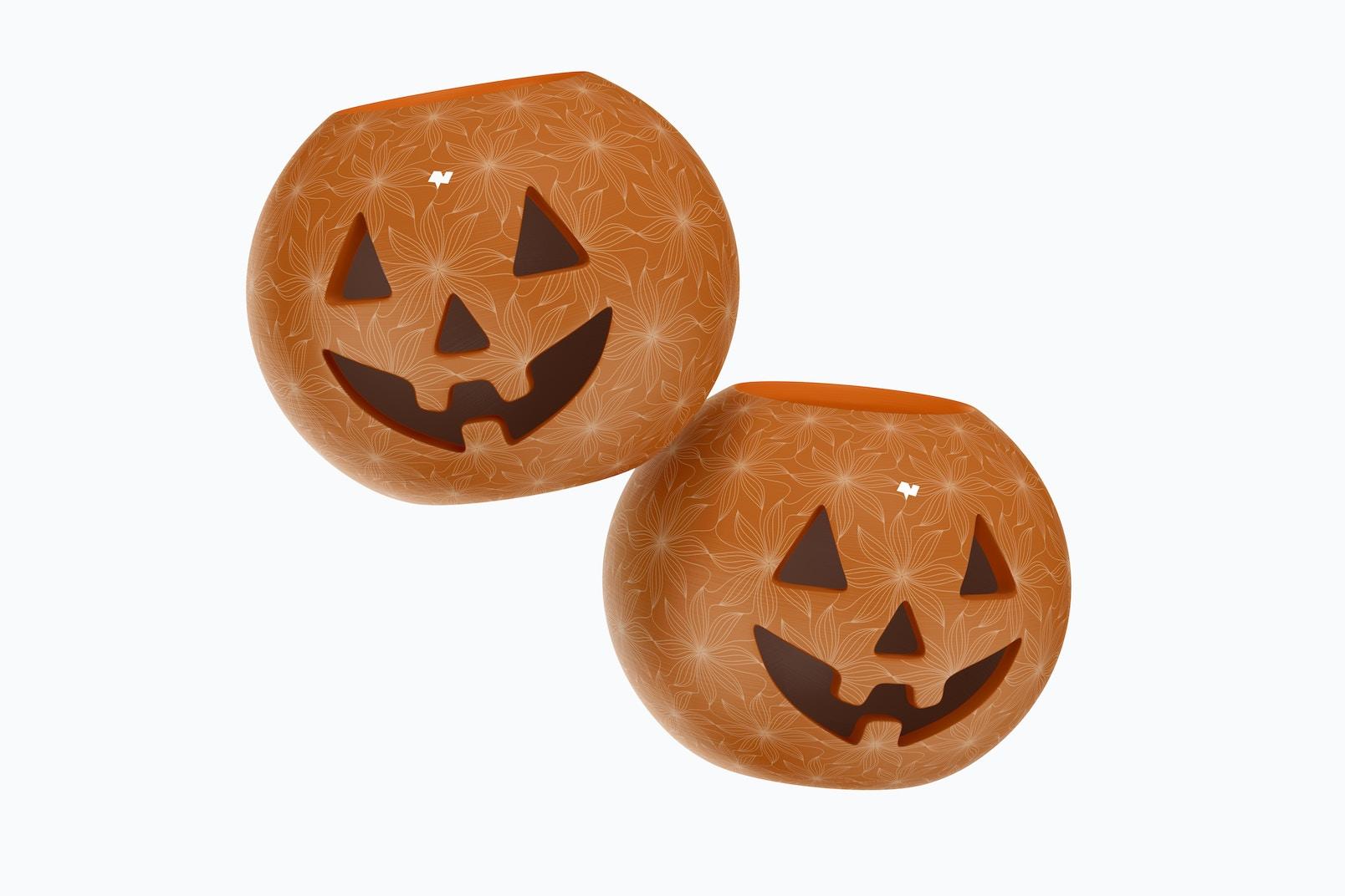 Ceramic Halloween Pumpkins Mockup, Floating