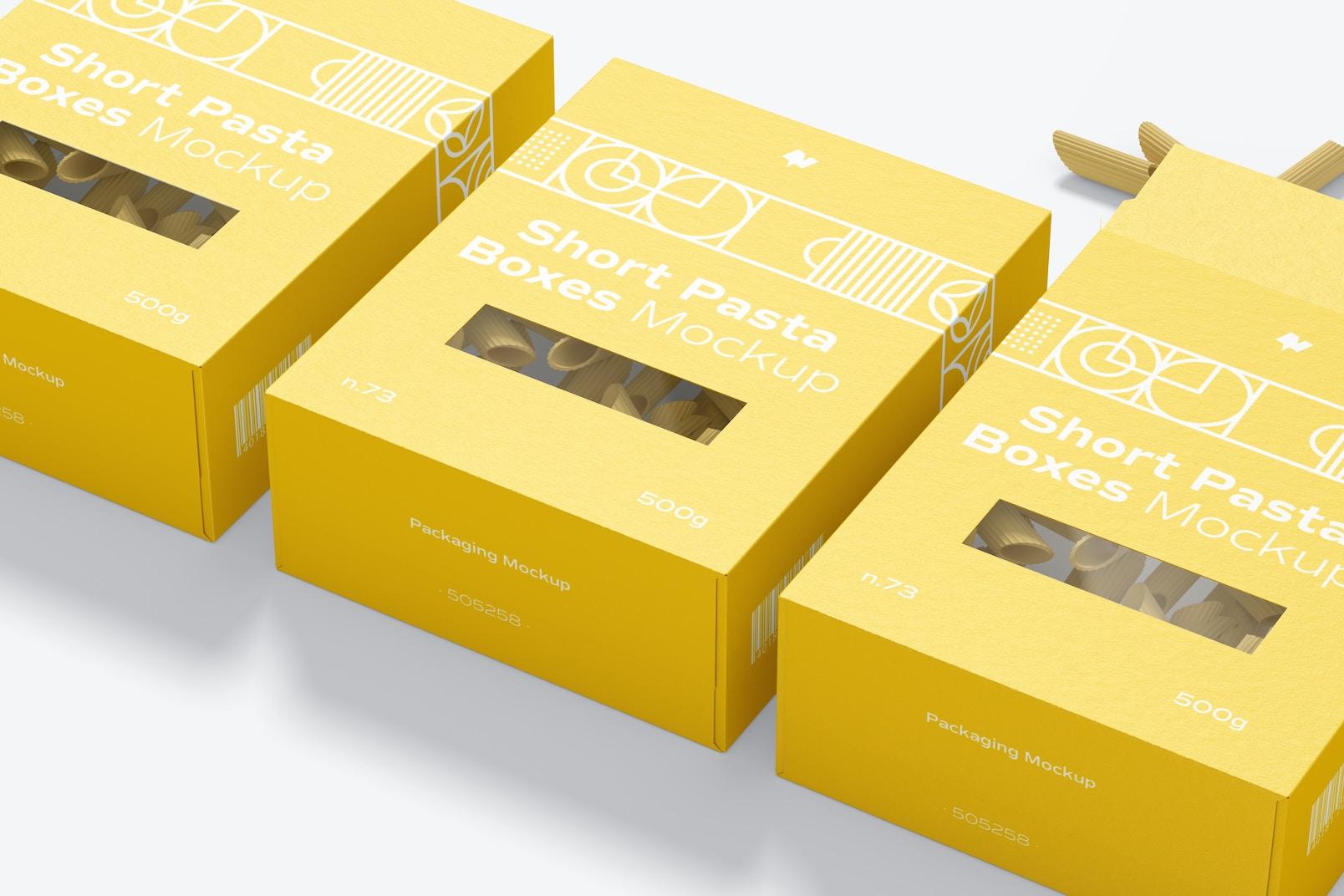 Short Pasta Boxes Set Mockup