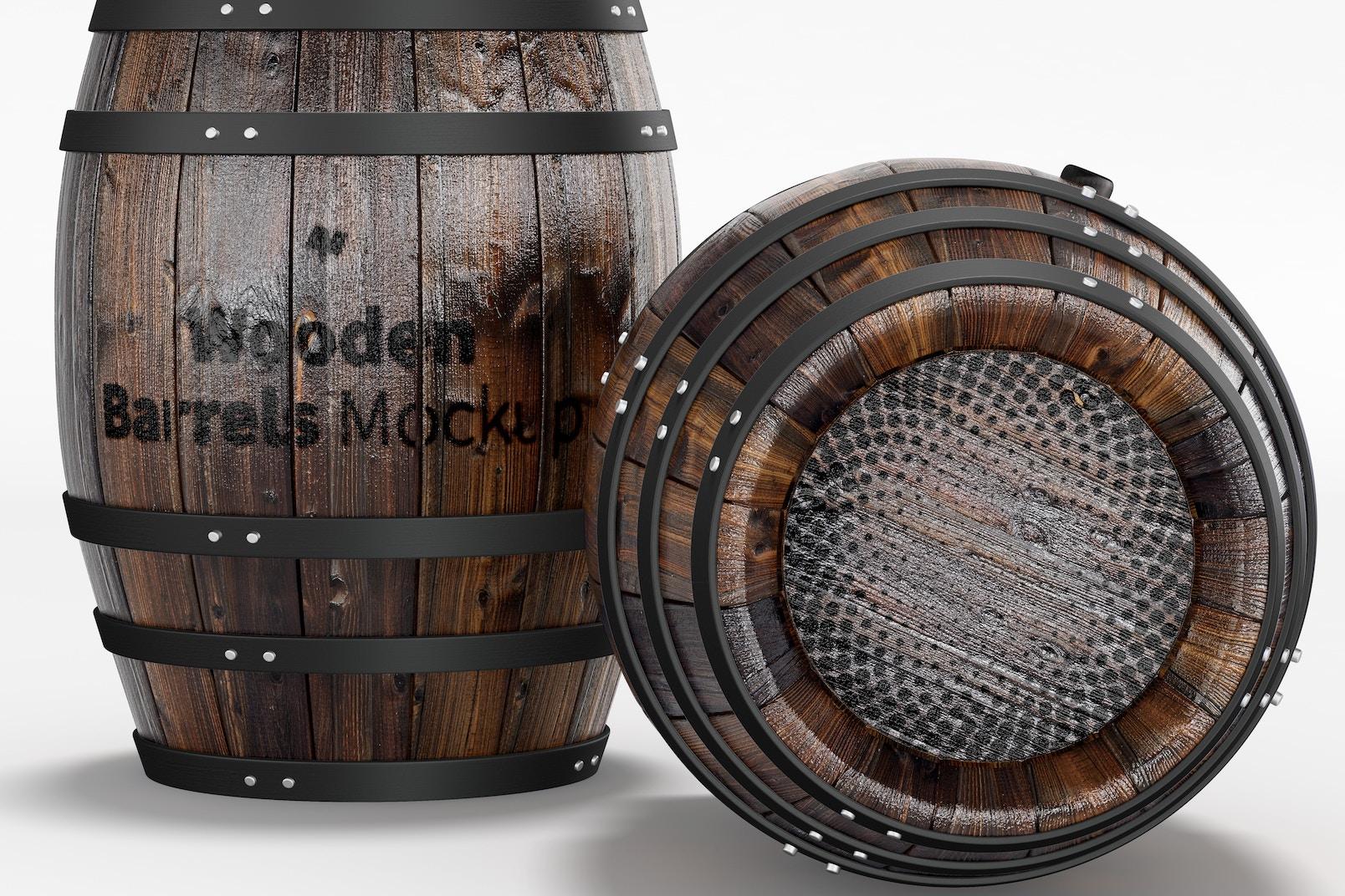 Wooden Barrels Mockup