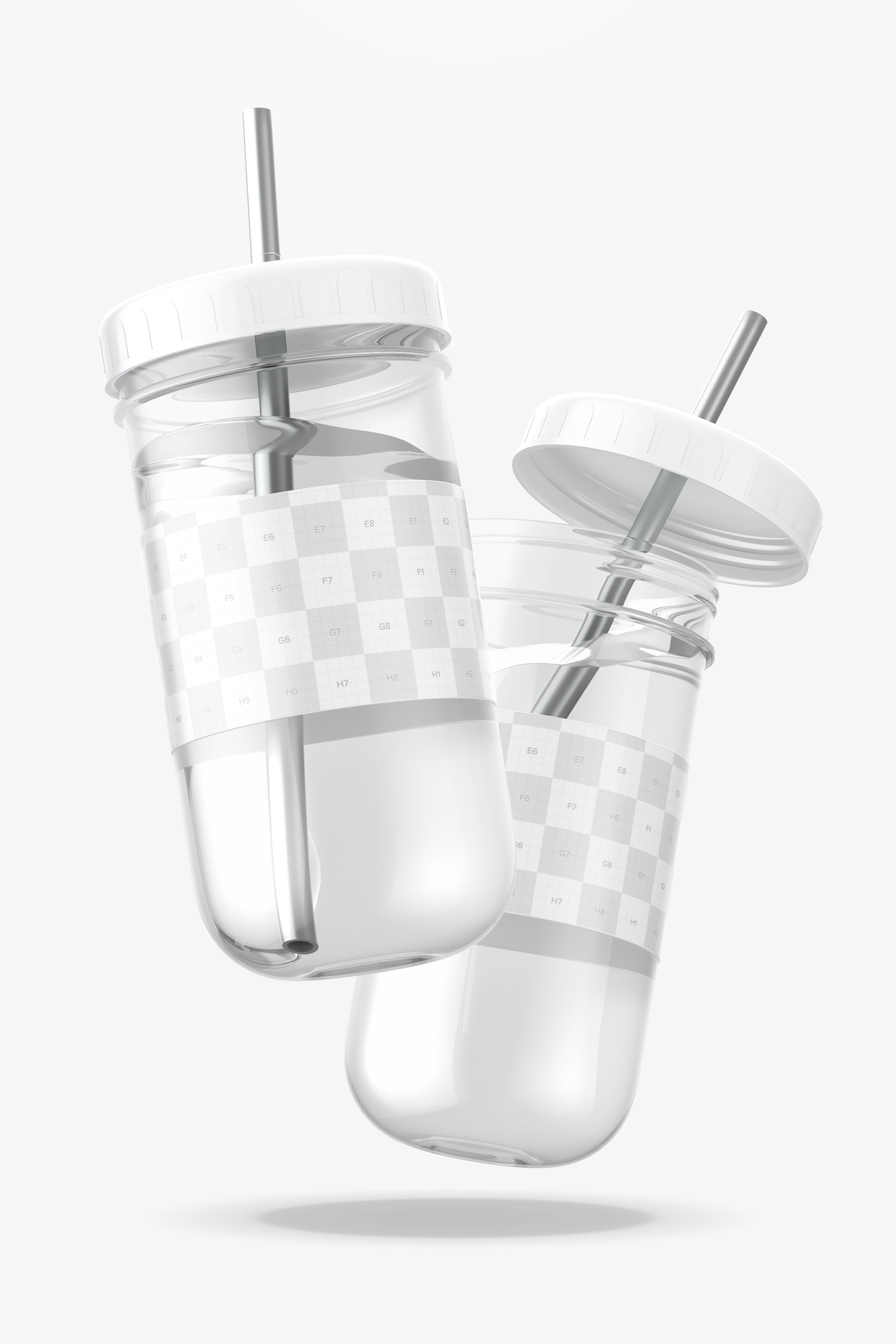 Smoothie Cups with Lid Mockup, Floating