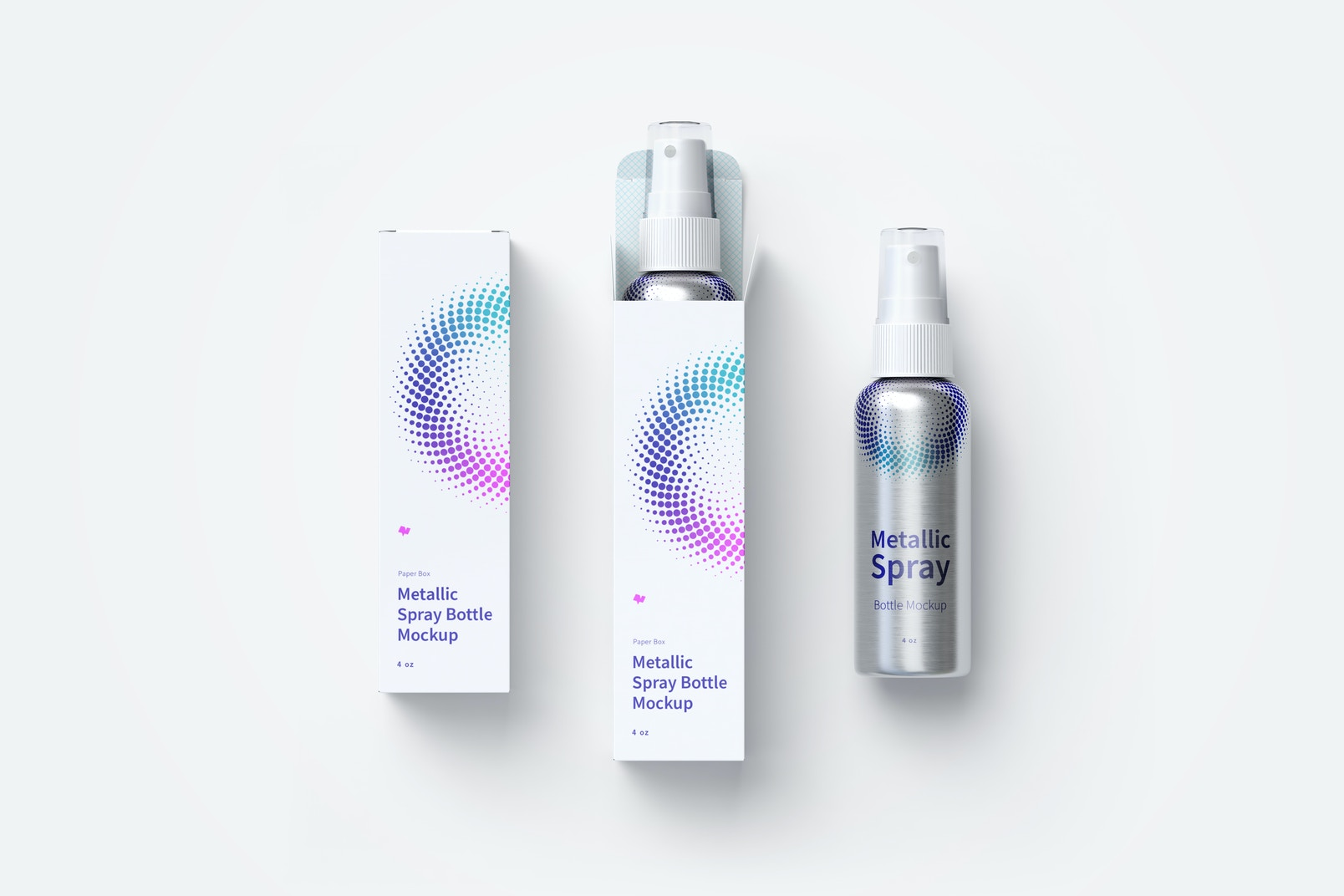 4 oz Metallic Spray Bottles Mockup with Paper Boxes, Top view