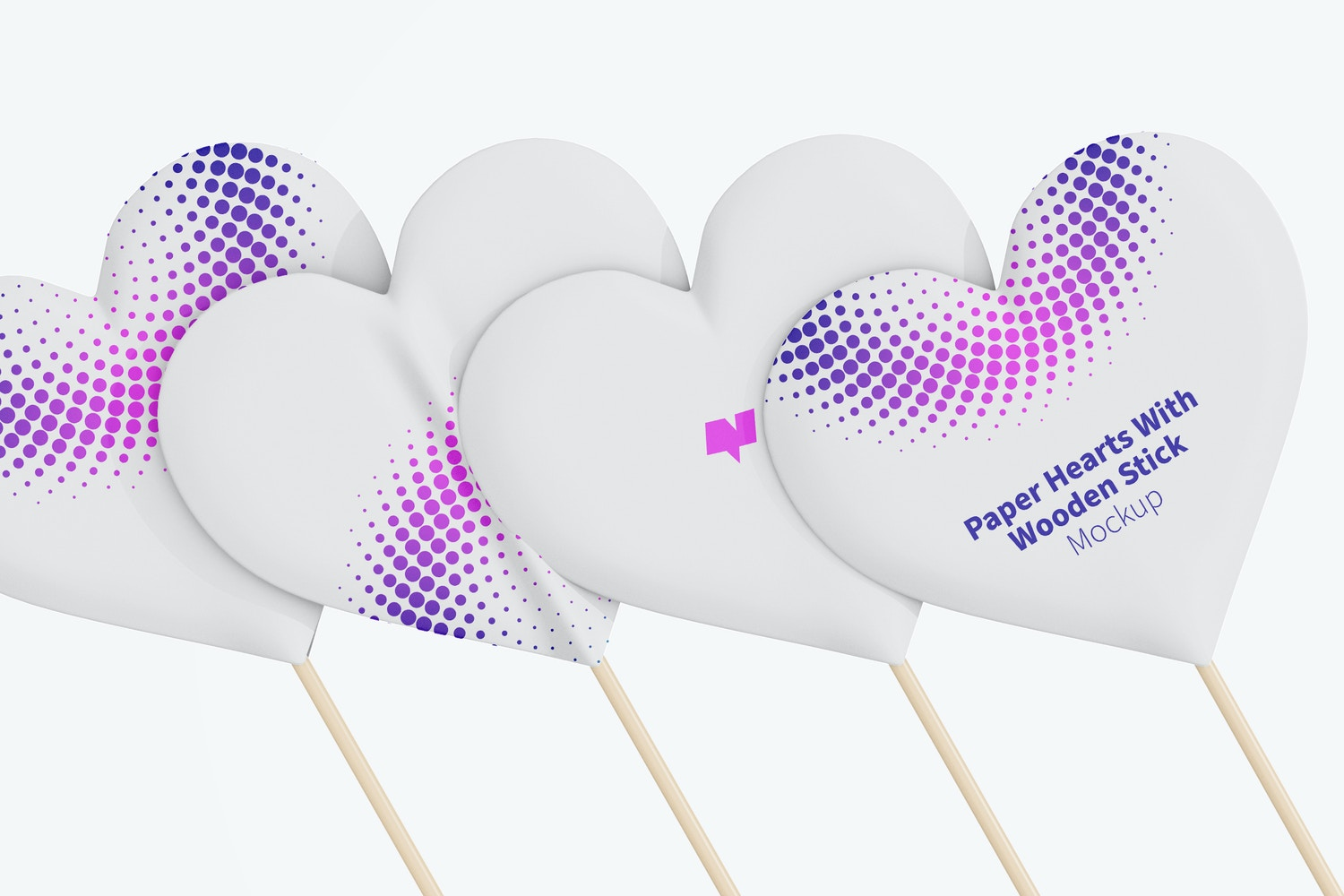 Paper Hearts With Wooden Stick Set Mockup