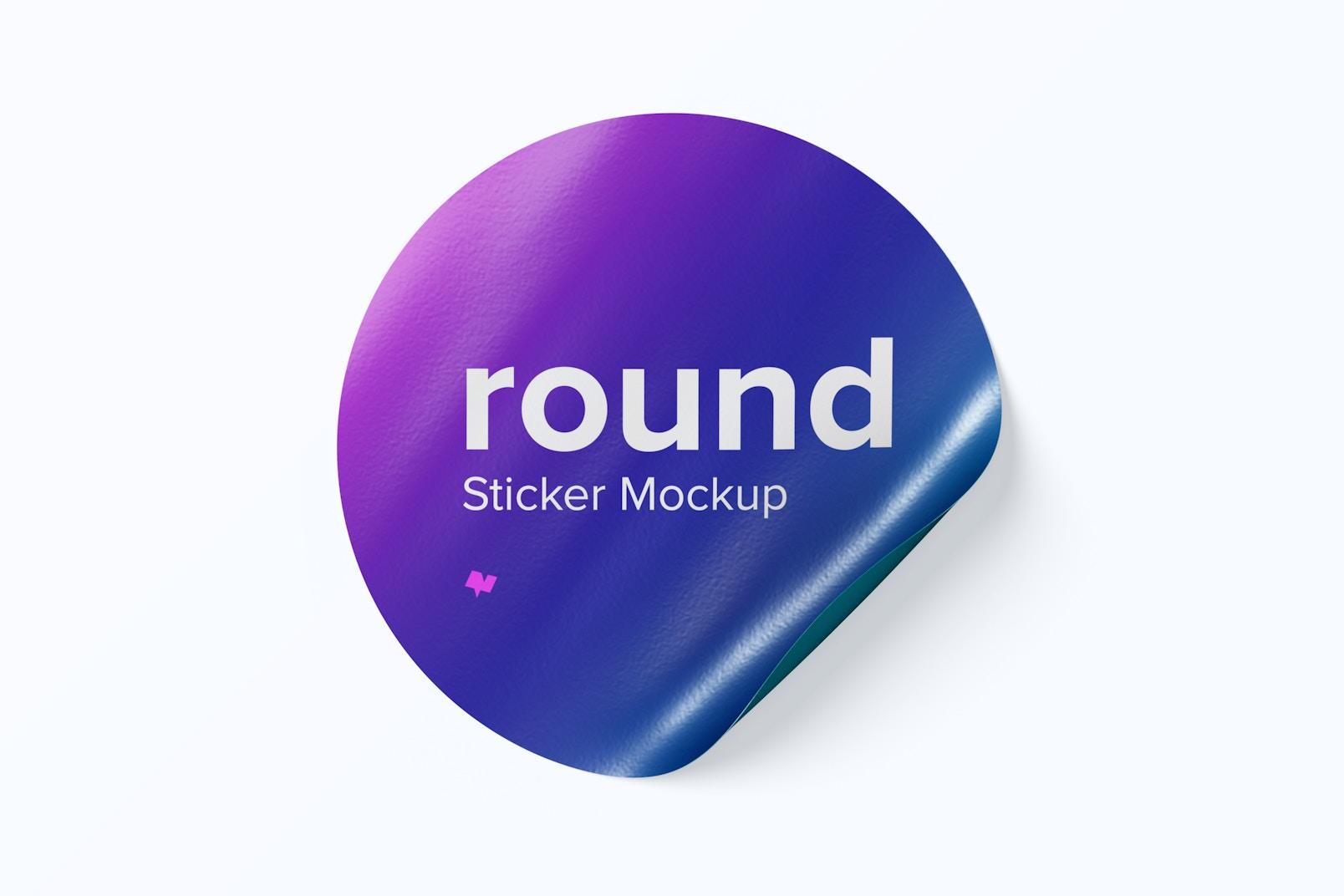 Round Sticker Mockup, Front View