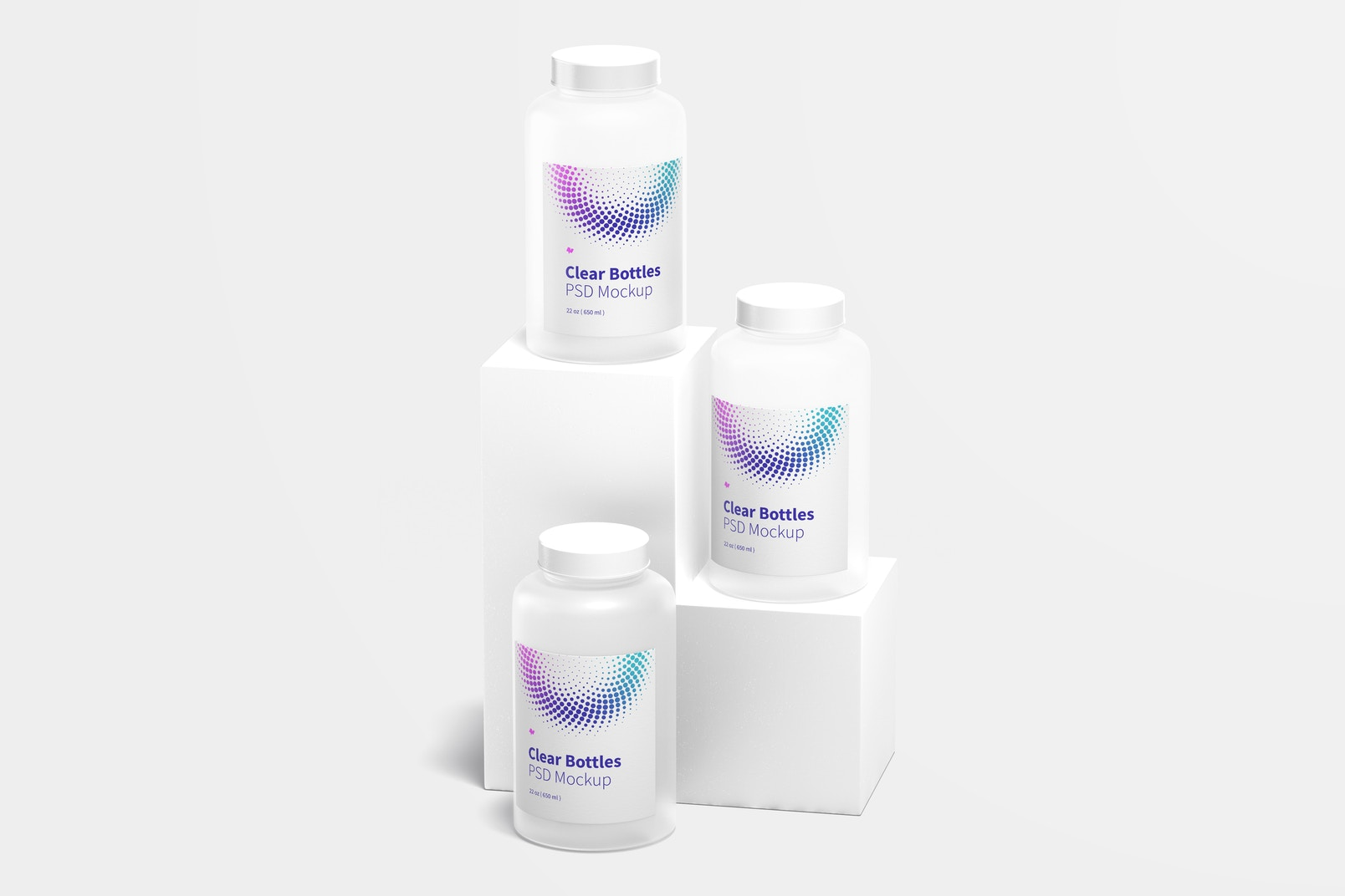 Maqueta de Botellas Transparentes de 22 oz, Vista Frontal