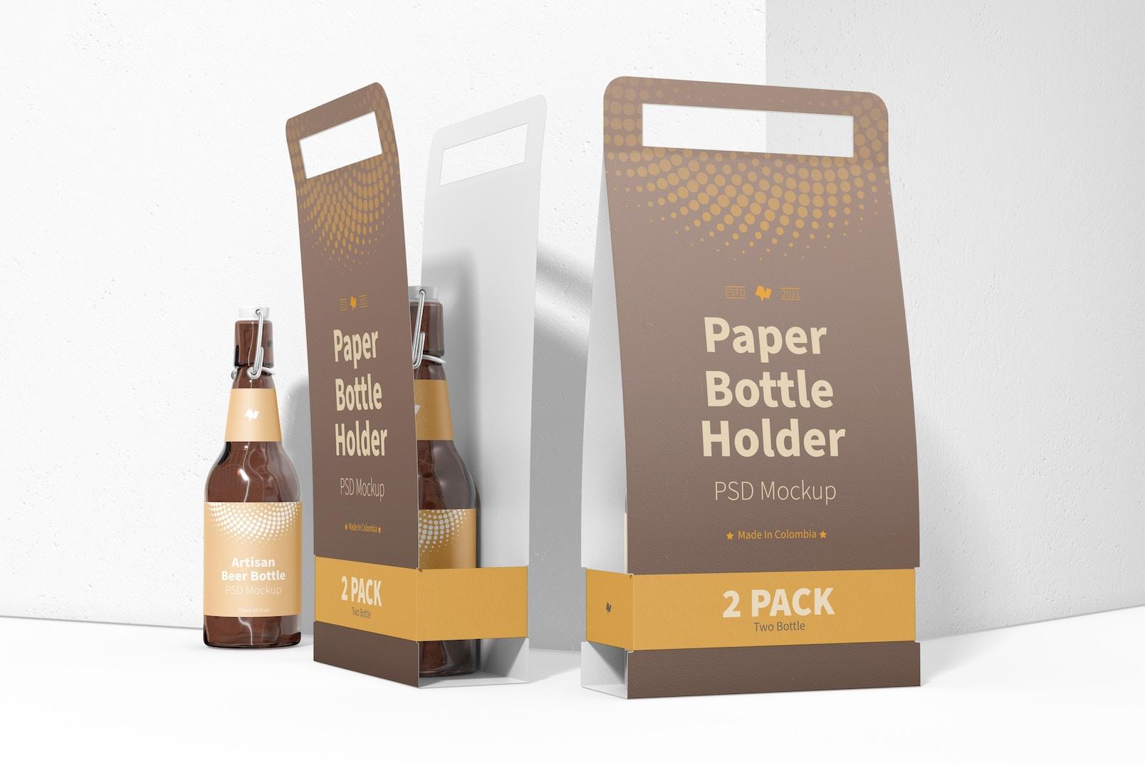 2 Pack Paper Bottle Holders Mockup