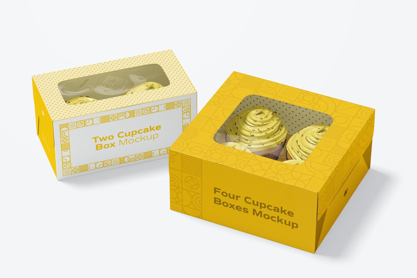Maqueta de Cajas de Dos y Cuatro Cupcakes