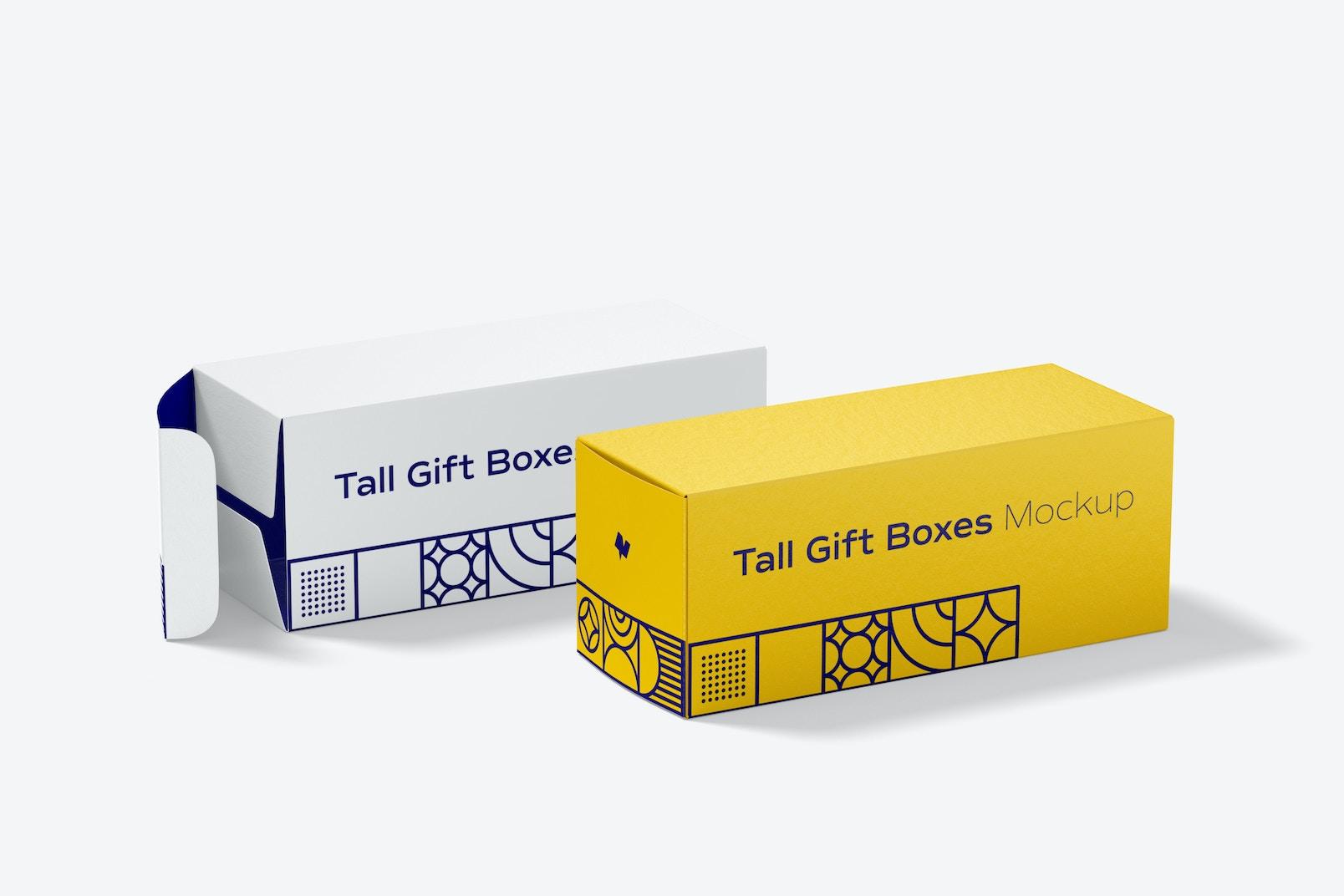 Tall Gift Box Mockup, Dropped