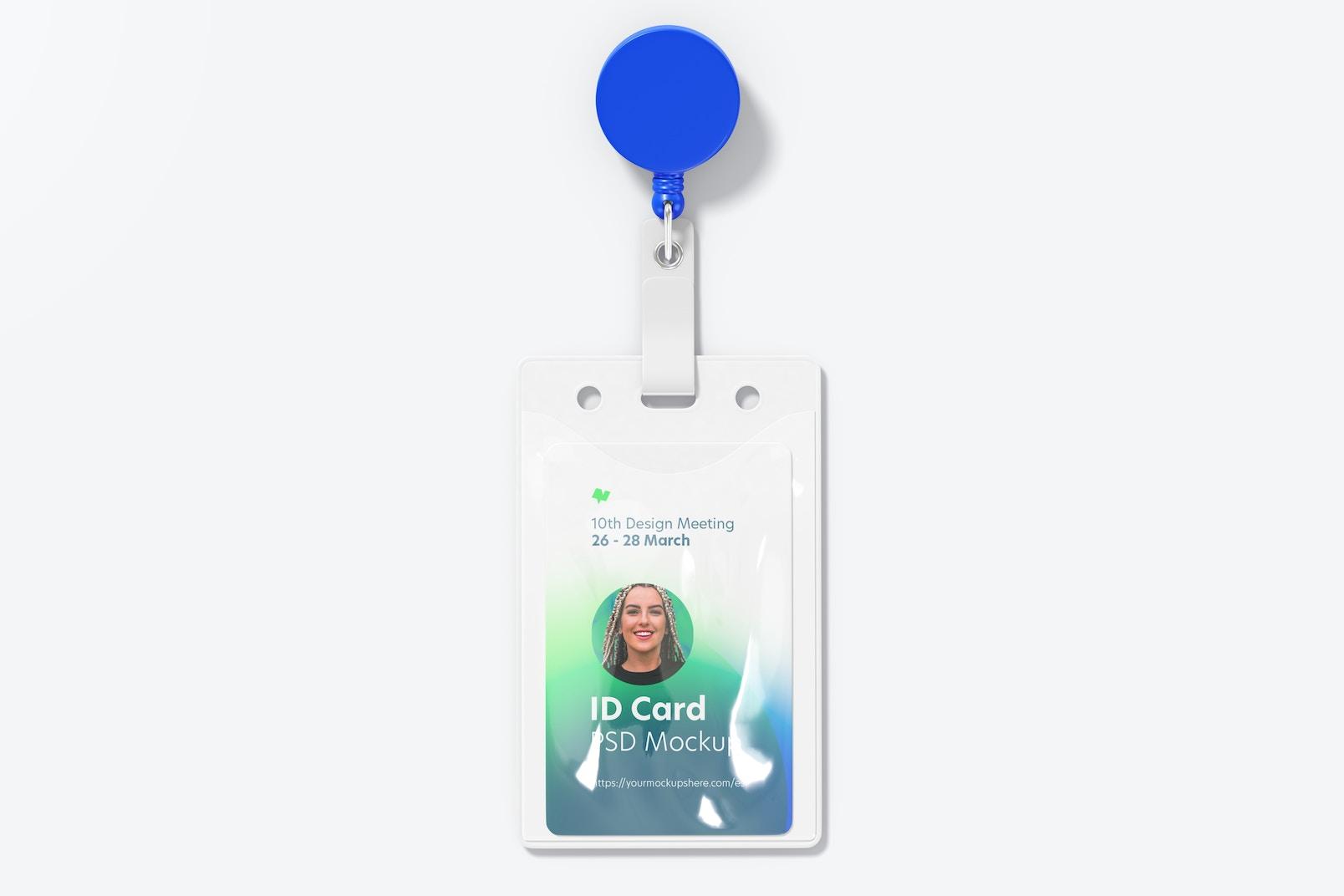 ID Card Reel with Belt Clip Mockup