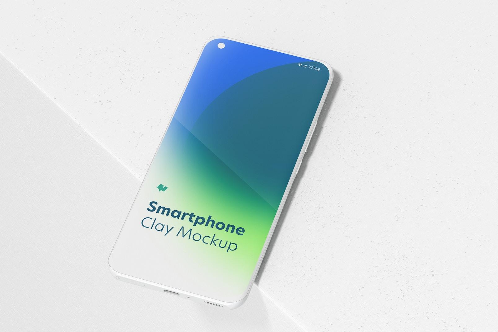 Clay Xiaomi Smartphone Mockup, Perspective