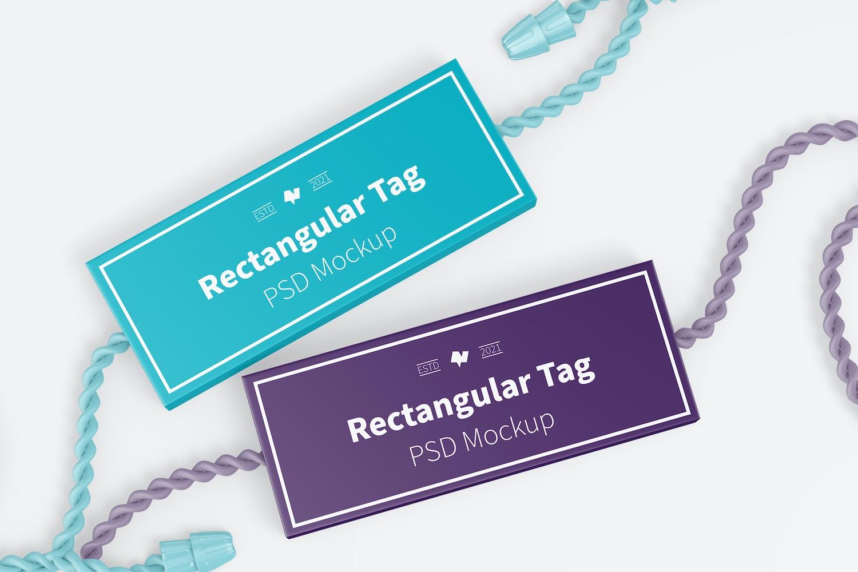 Rectangular Textile Tags Mockup
