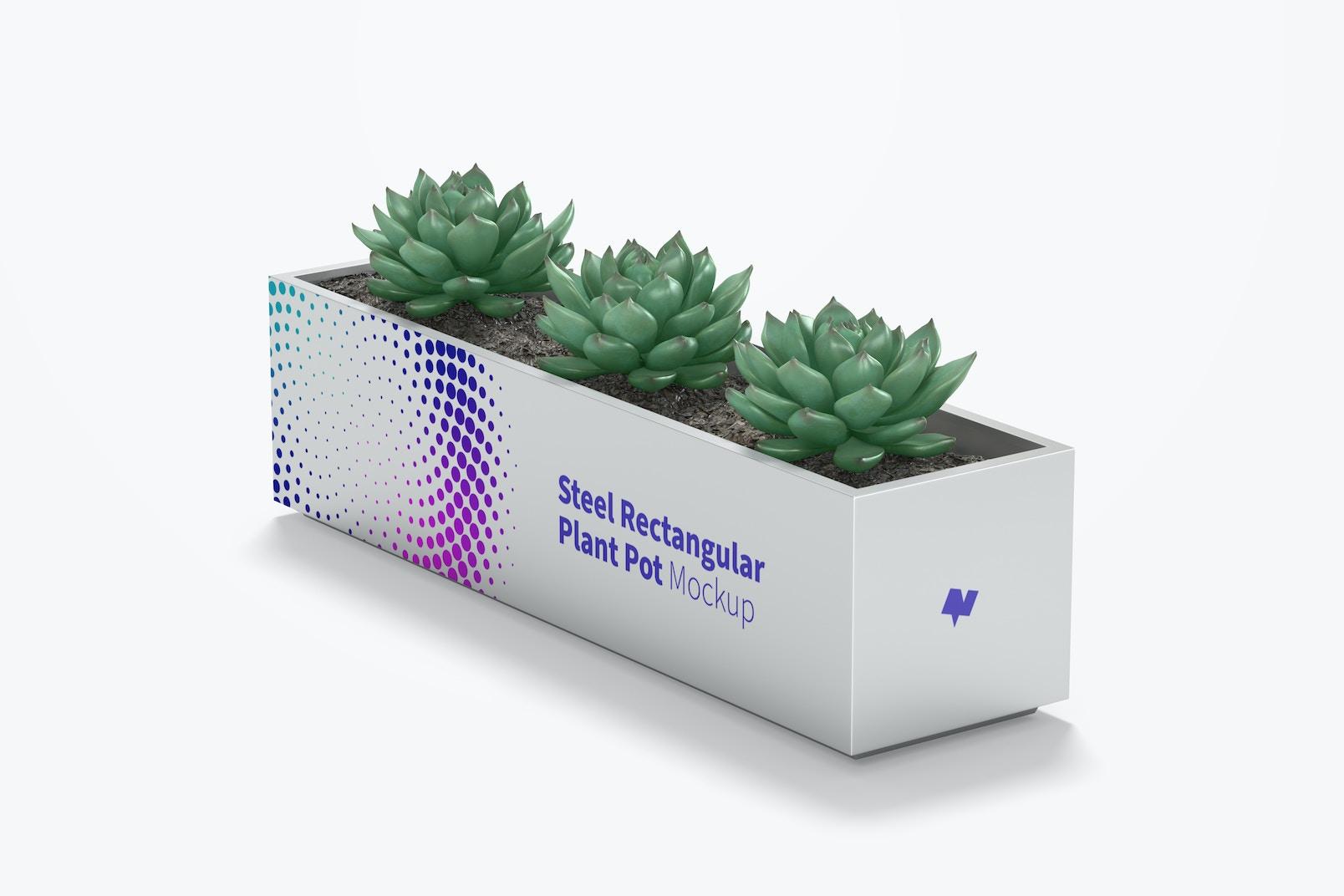 Steel Rectangular Plant Pot Mockup