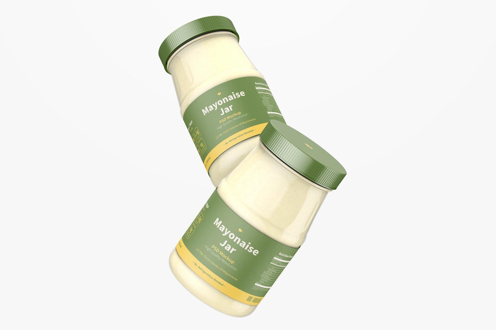 14 oz Mayonnaise Jars Mockup, Floating