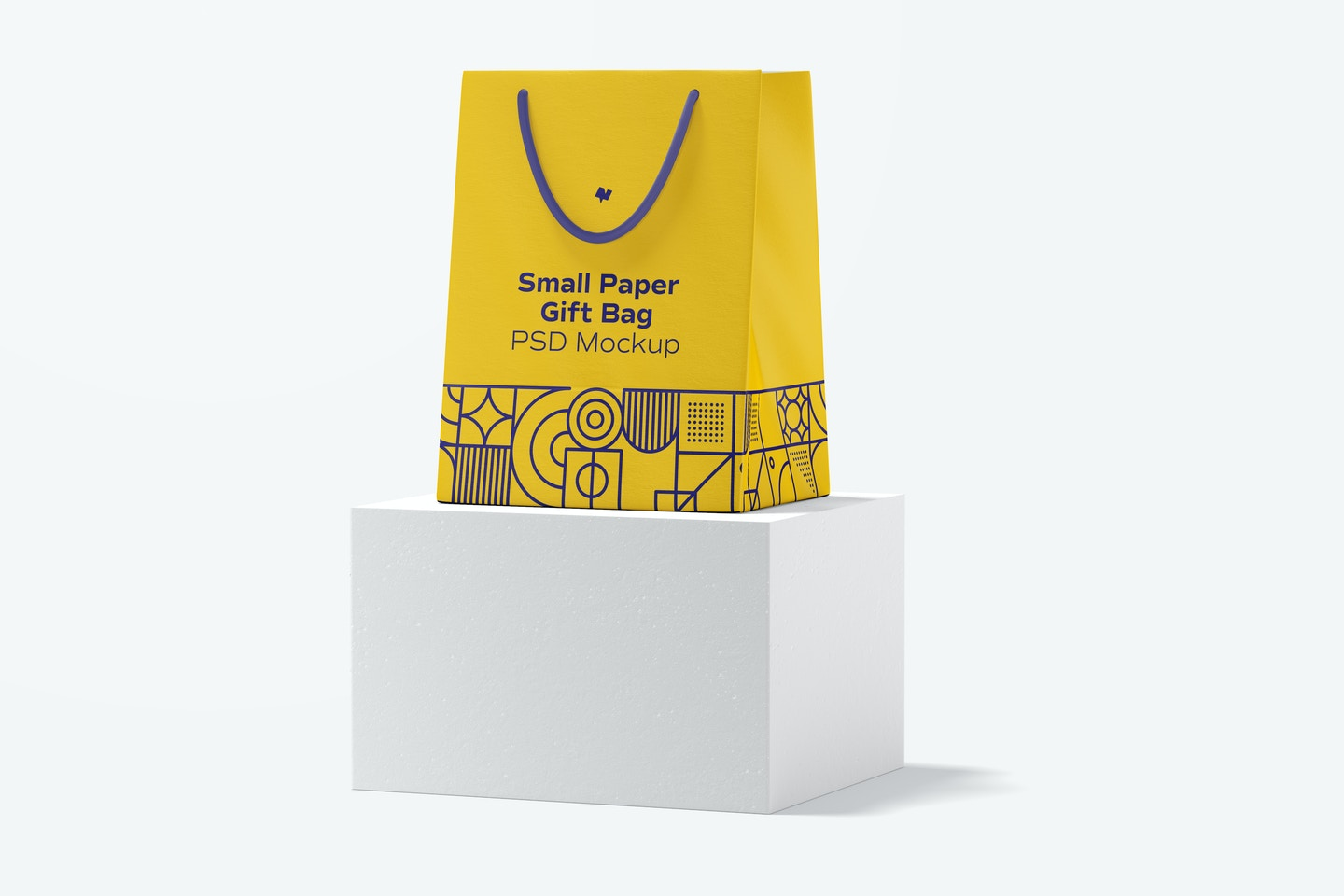 Small Paper Gift Bag With Rope Handle Mockup