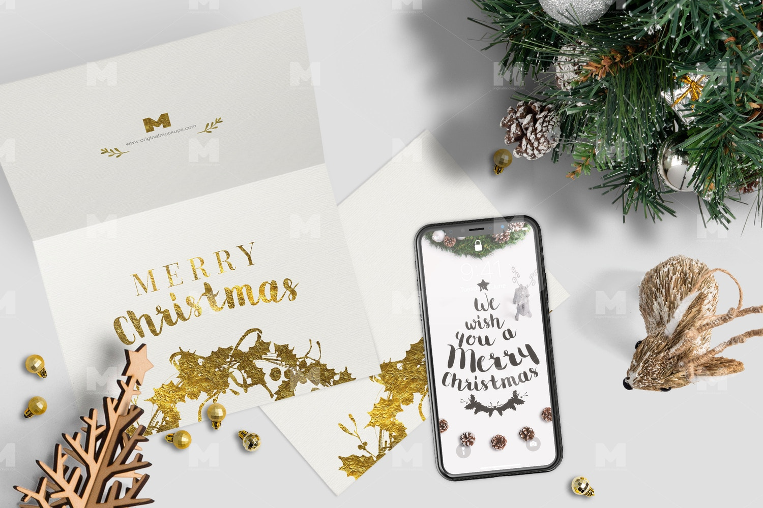 Christmas Header and Hero Scene Mockup 17
