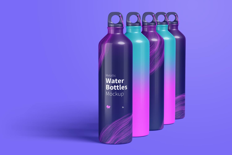 Maqueta de Juego de Botellas de Agua Metálicas, Vista Derecha