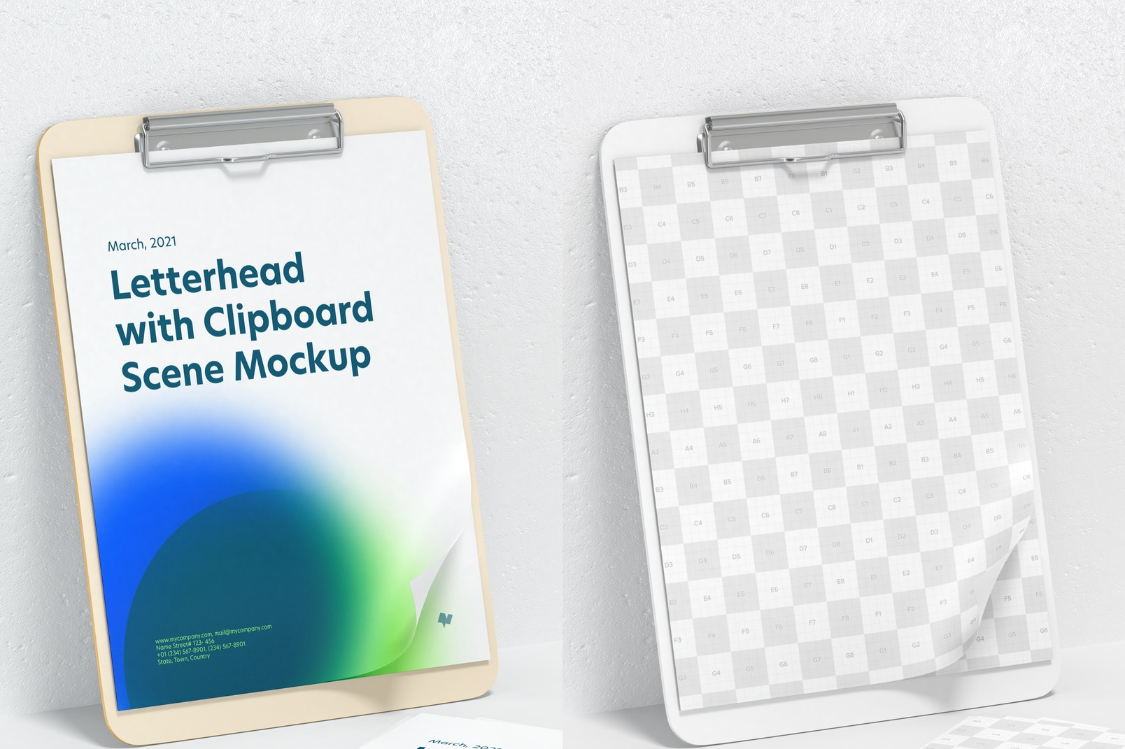 Letterhead with Clipboard Scene Mockup, Perspective View