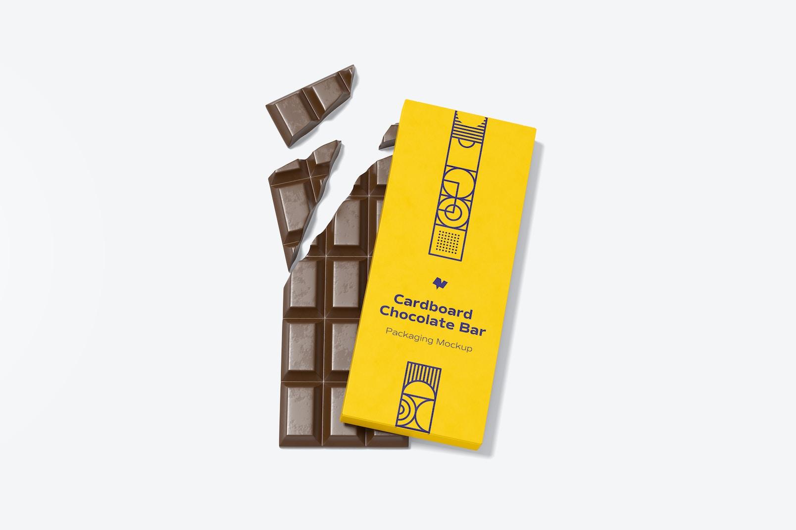 Maqueta de Empaque de Papel para Barra de Chocolate, Vista Superior