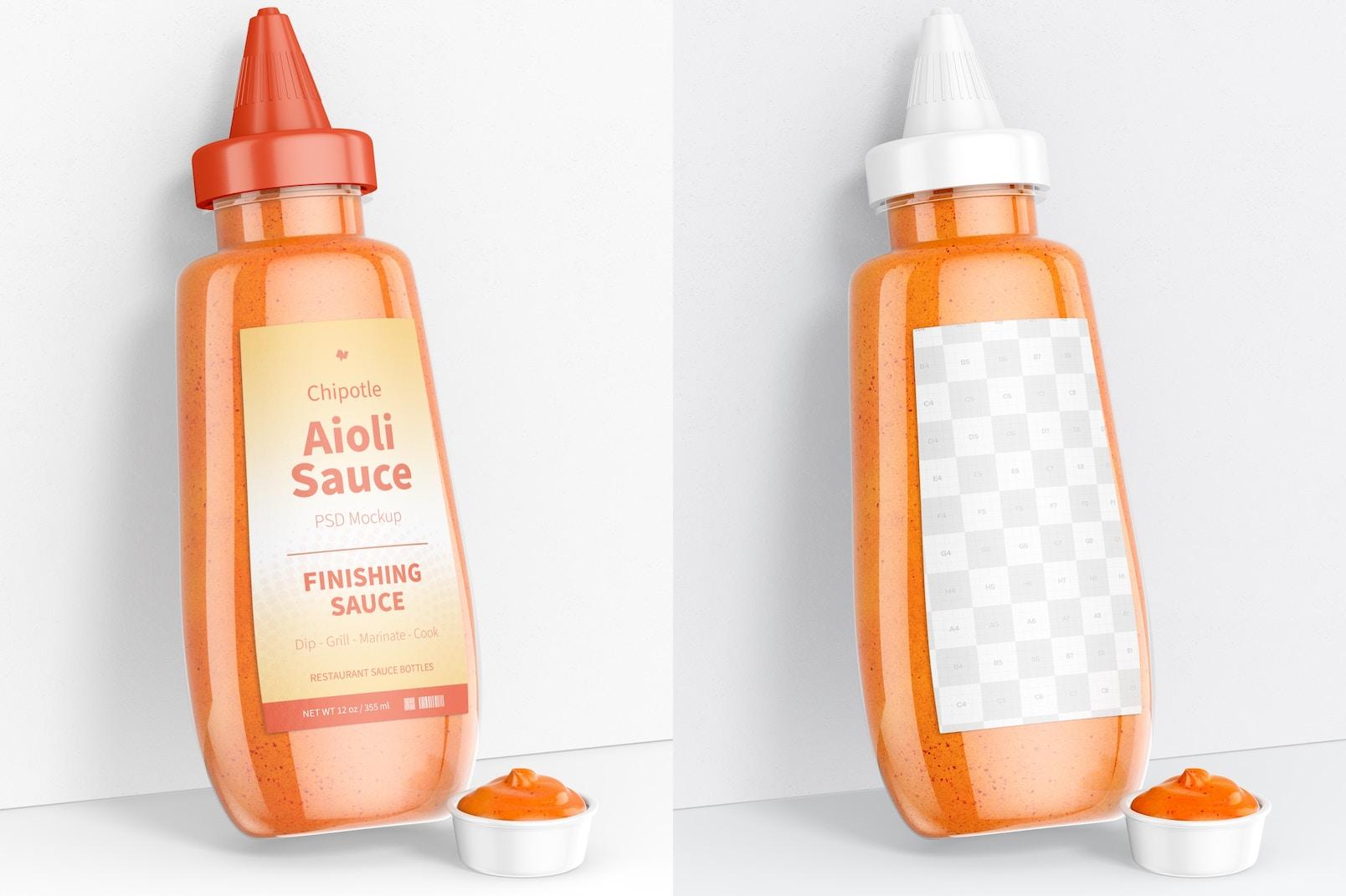 12 oz Chipotle Aioli Sauce Bottle Mockup, Leaned