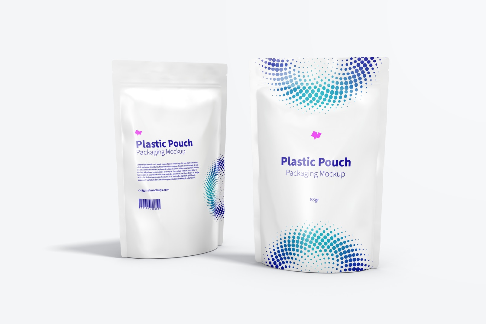 Plastic Pouches Packaging Mockup