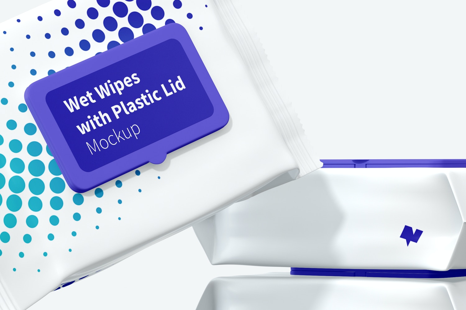 Wet Wipes Large Packaging with Plastic Lid Set Mockup