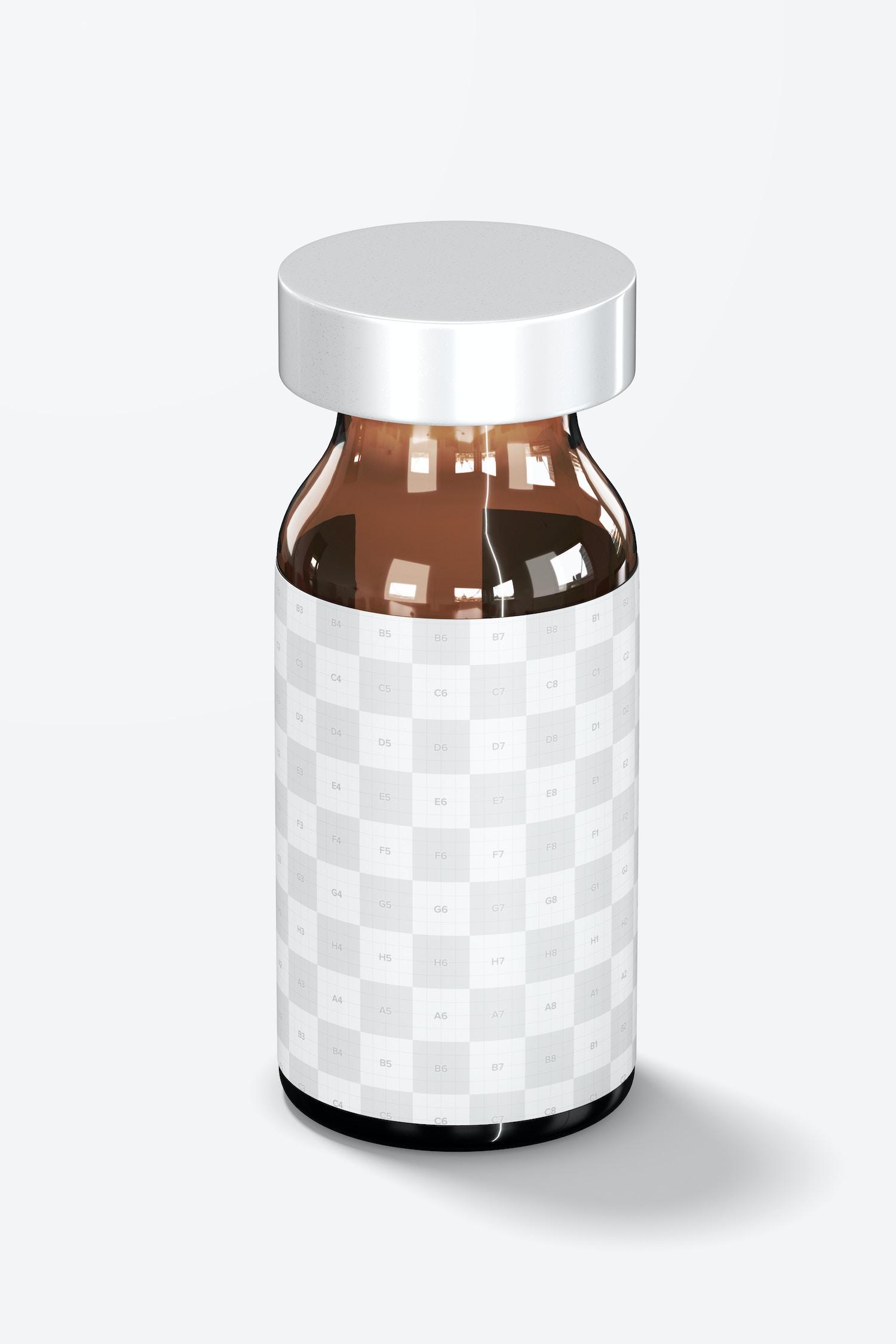 Amber Glass Medicine Vial Bottle Mockup
