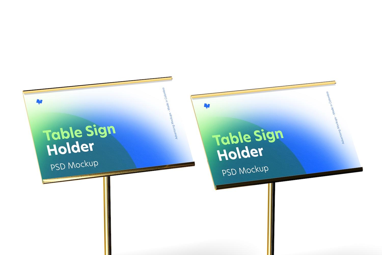 Table Sign Holders Metallic Base Mockup, Close-Up