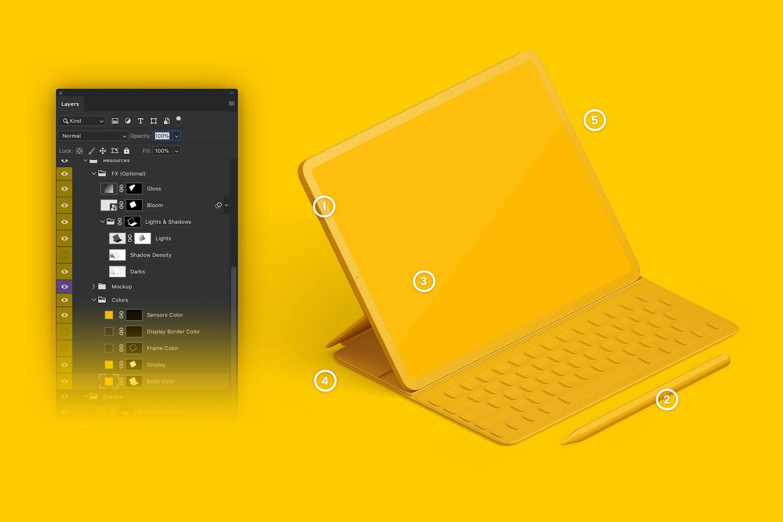 """Maqueta de iPad Pro 12.9"""" Multicolor, con Teclado en Vista Izquierda Isométrica (6) por Original Mockups en Original Mockups"""