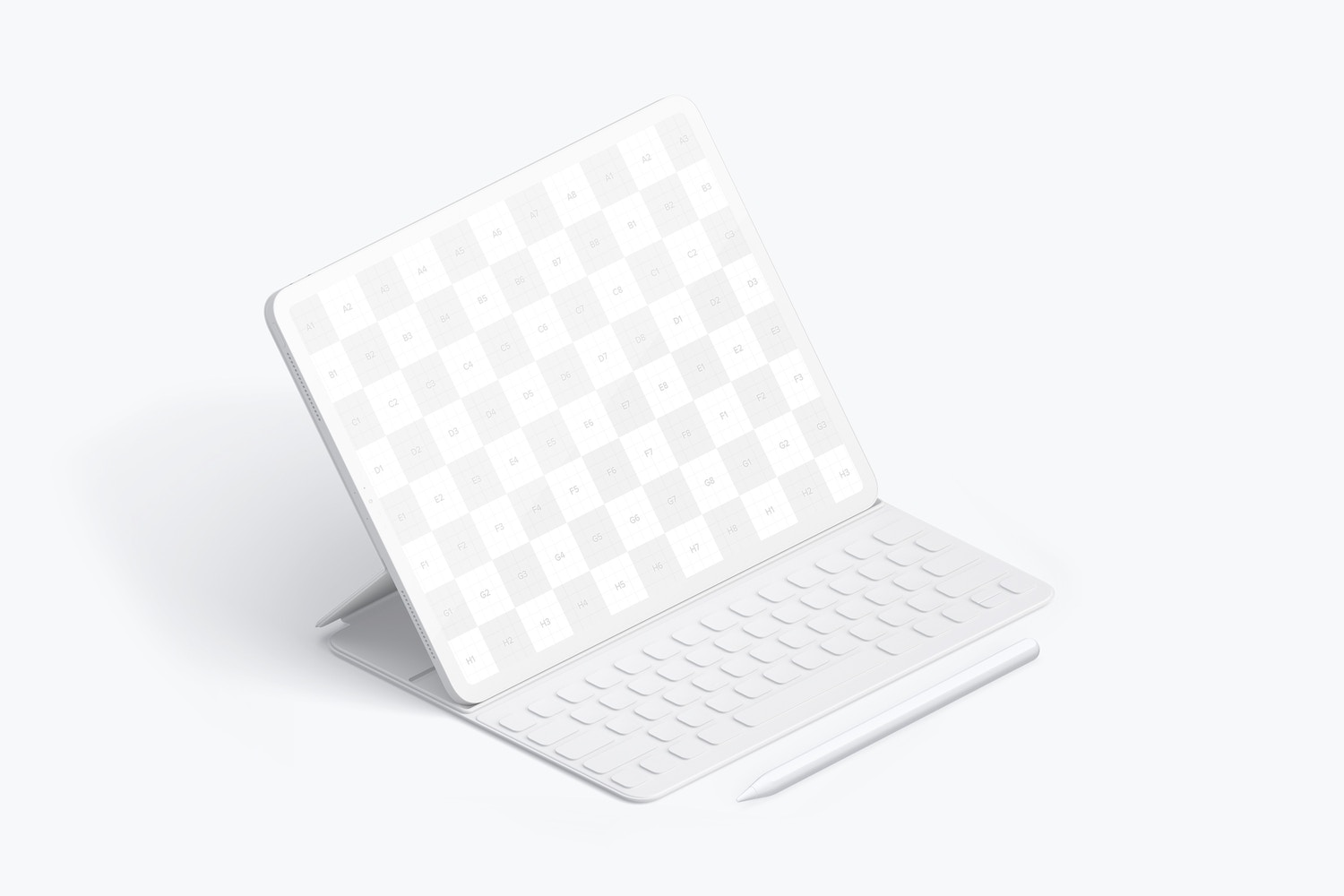 """Clay iPad Pro 12.9"""" Mockup, Isometric Left View With Keyboard"""