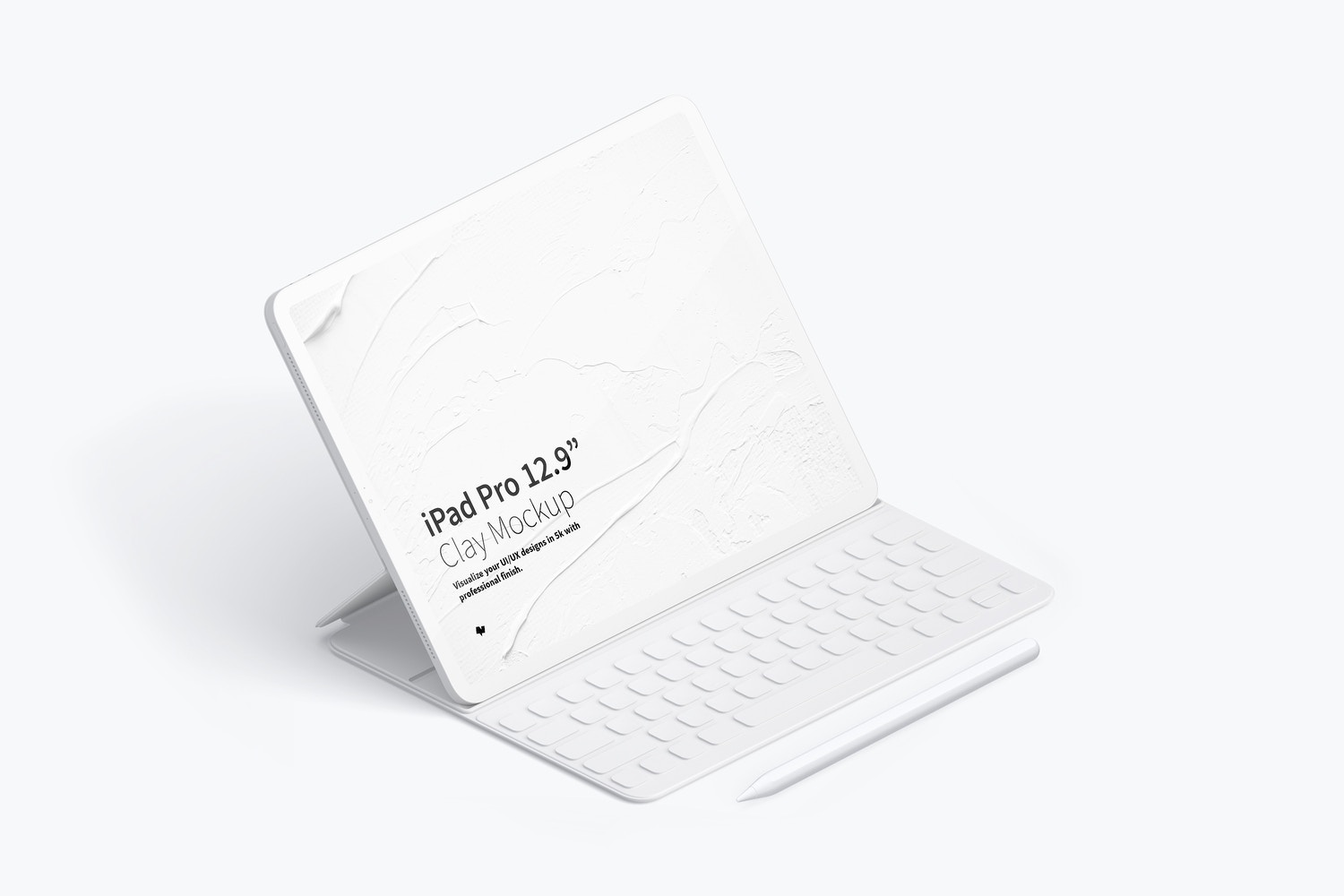 "Clay iPad Pro 12.9"" Mockup, Isometric Left View With Keyboard by Original Mockups on Original Mockups"