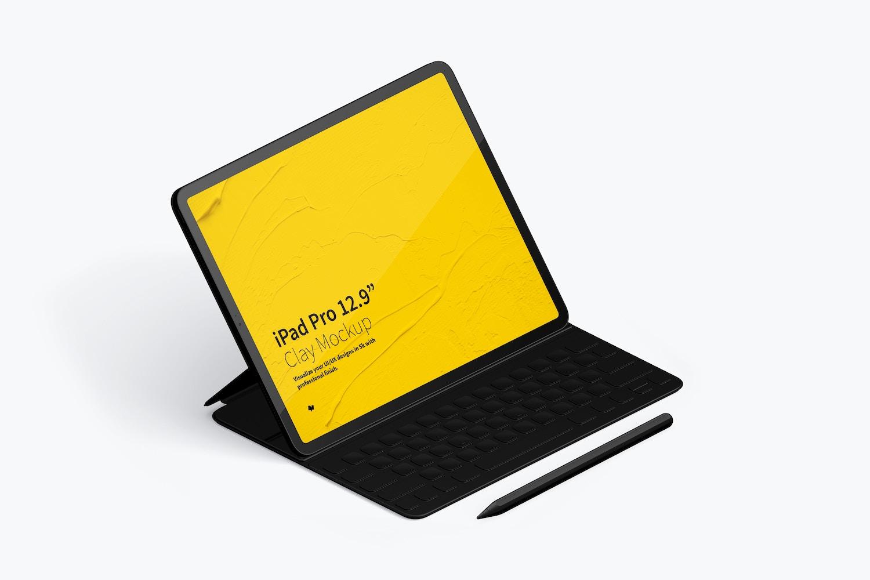 "Clay iPad Pro 12.9"" Mockup, Isometric Left View With Keyboard (4) by Original Mockups on Original Mockups"