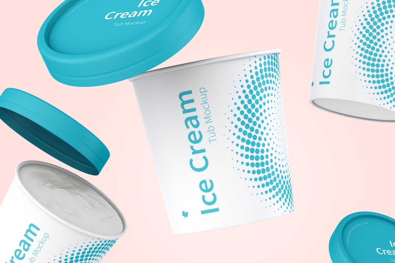 500ml Ice Cream Paper Tub Mockup, Floating