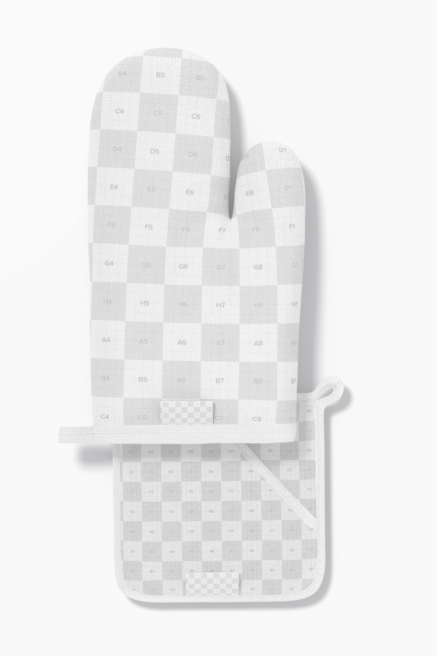 Oven Mitt and Potholder Mockup, Top View