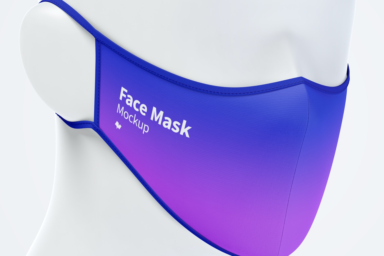 Face Mask Mockup, Front Half-Side View