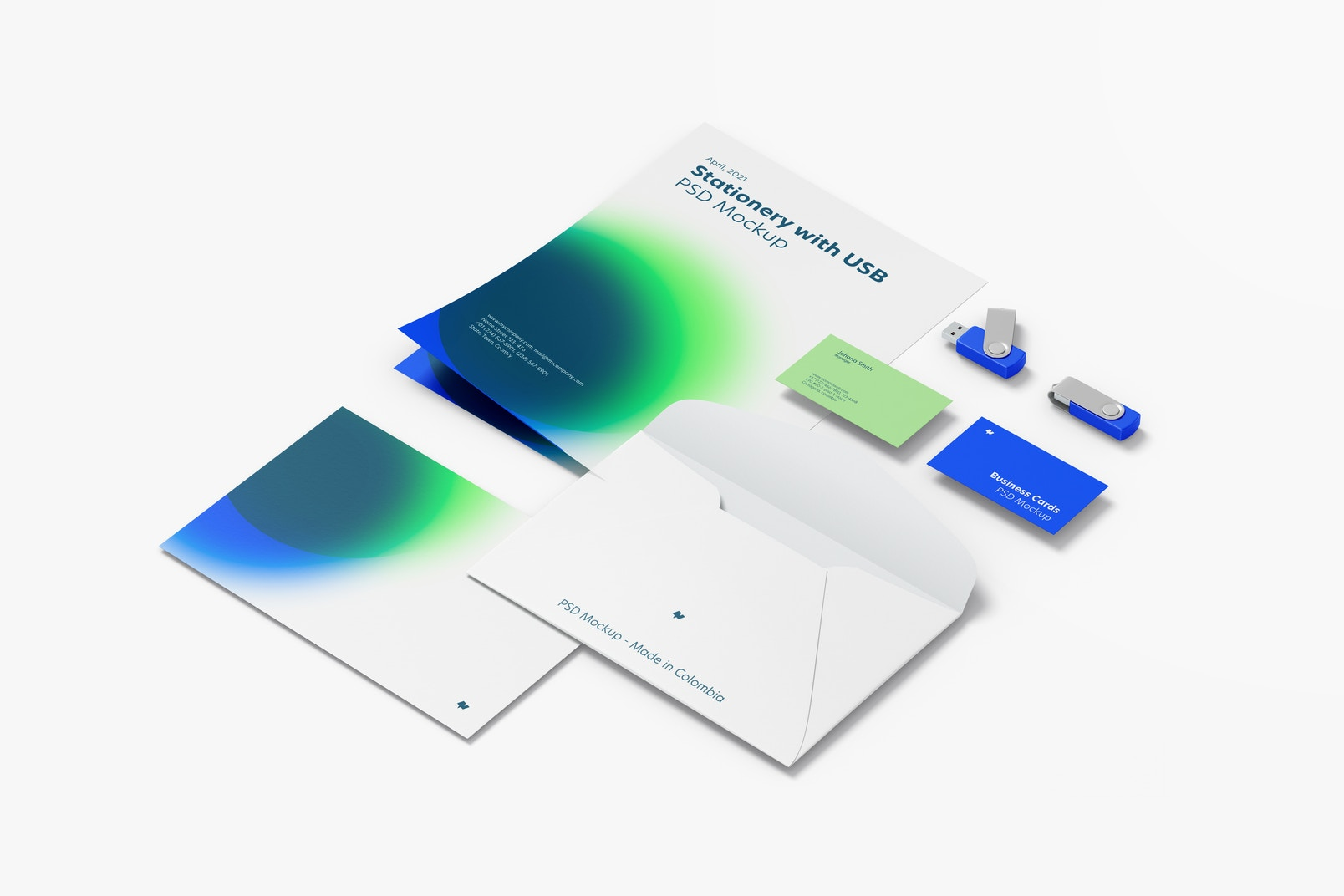 Stationery with USB Flash Drives Mockup, Rigth View
