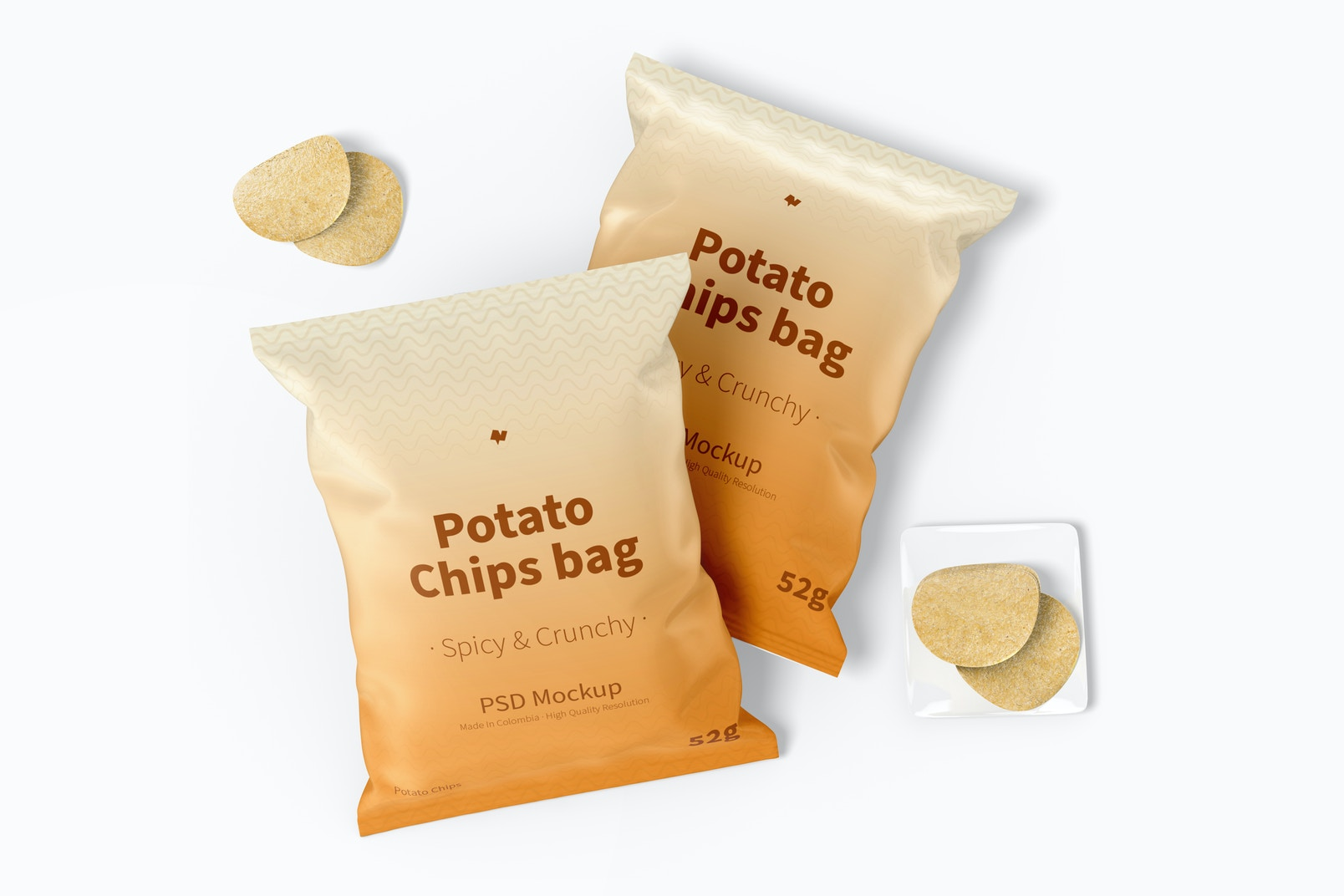 Potato Chips Bags Mockup, Top View