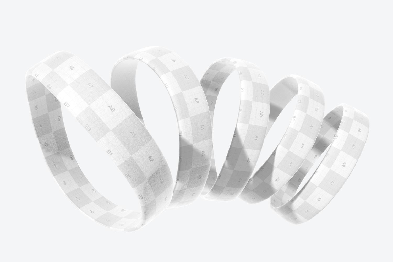 Silicone Wristbands Set Mockup, Floating