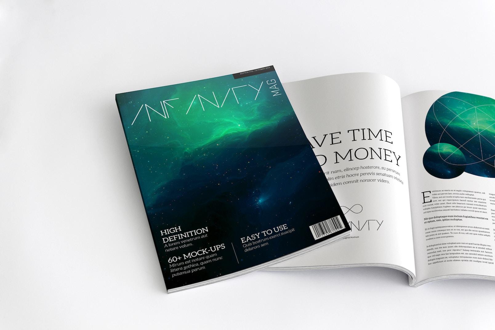 Maqueta de Revista A4 para Portada y Paginas Internas 02